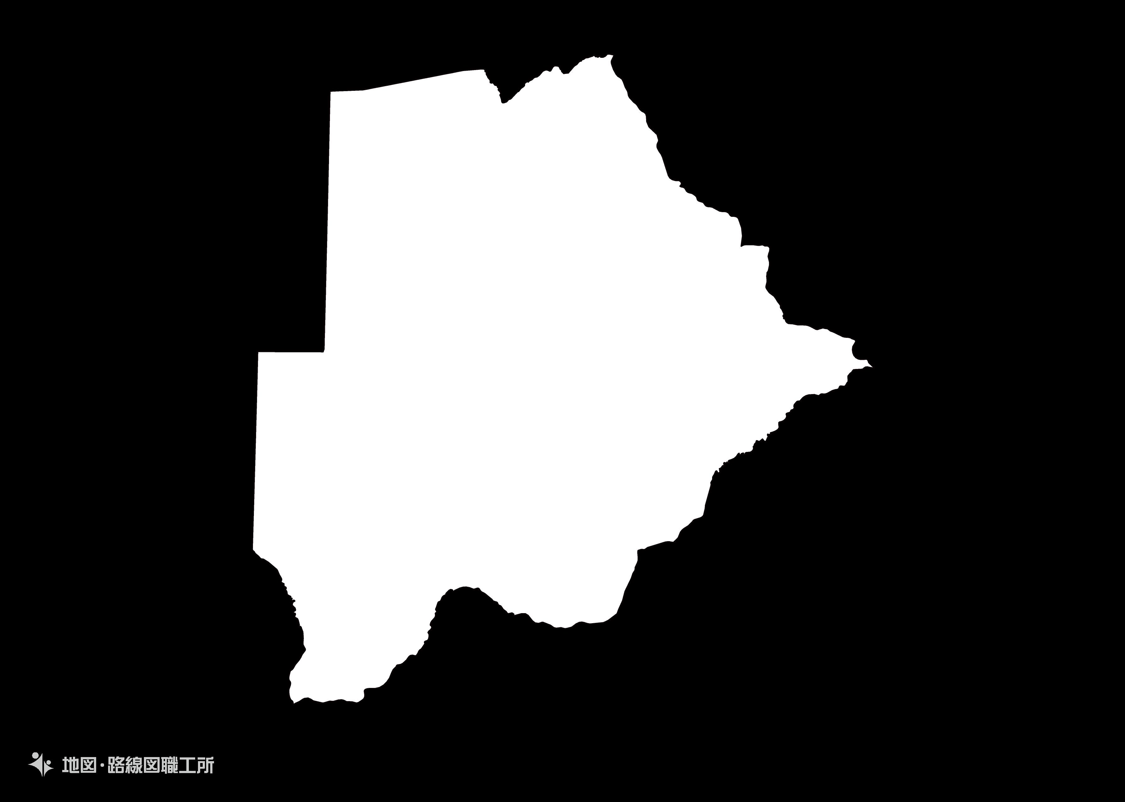 世界の白地図 ボツワナ共和国 republic-of-botswana map