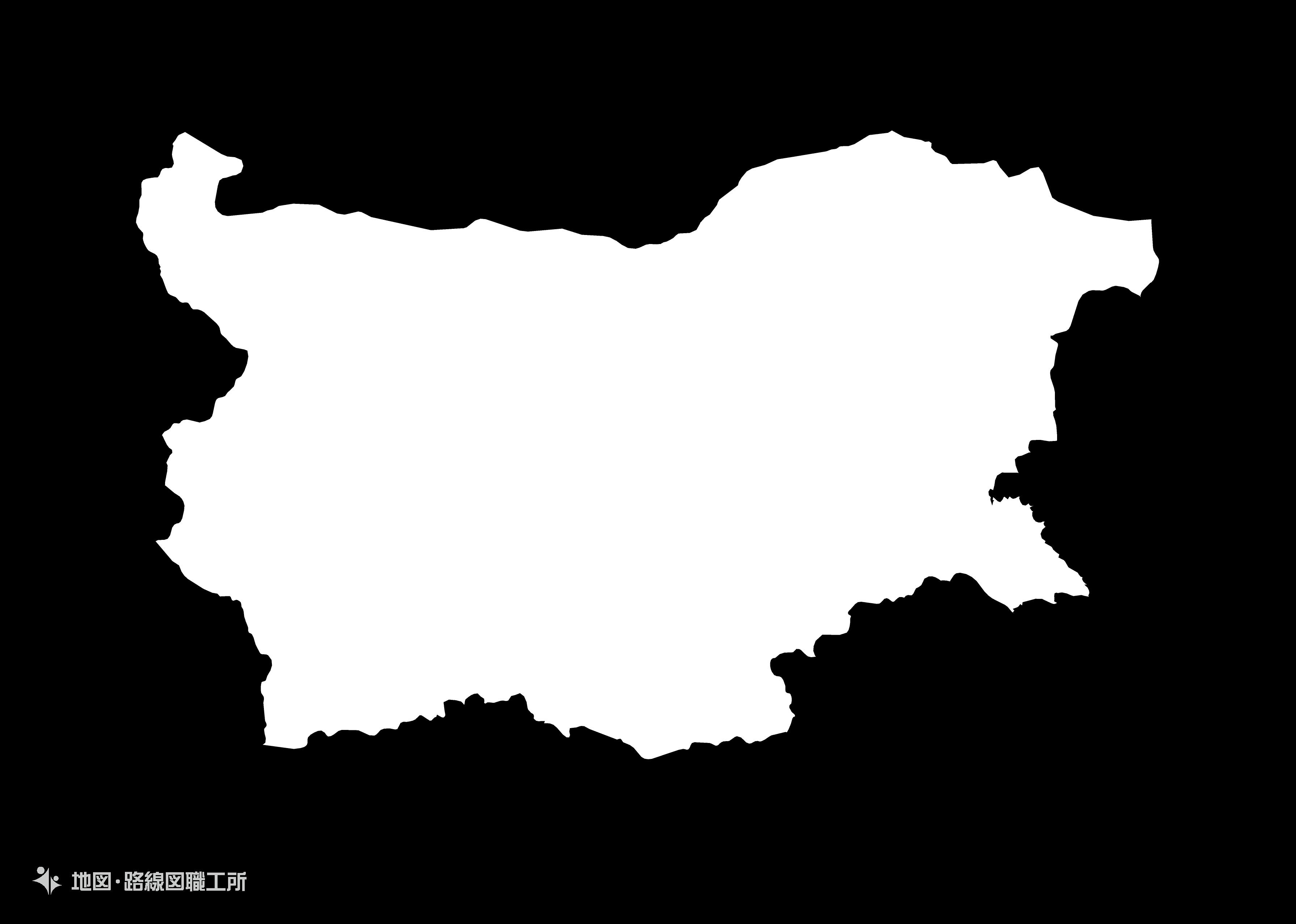世界の白地図 ブルガリア共和国 republic-of-bulgaria map