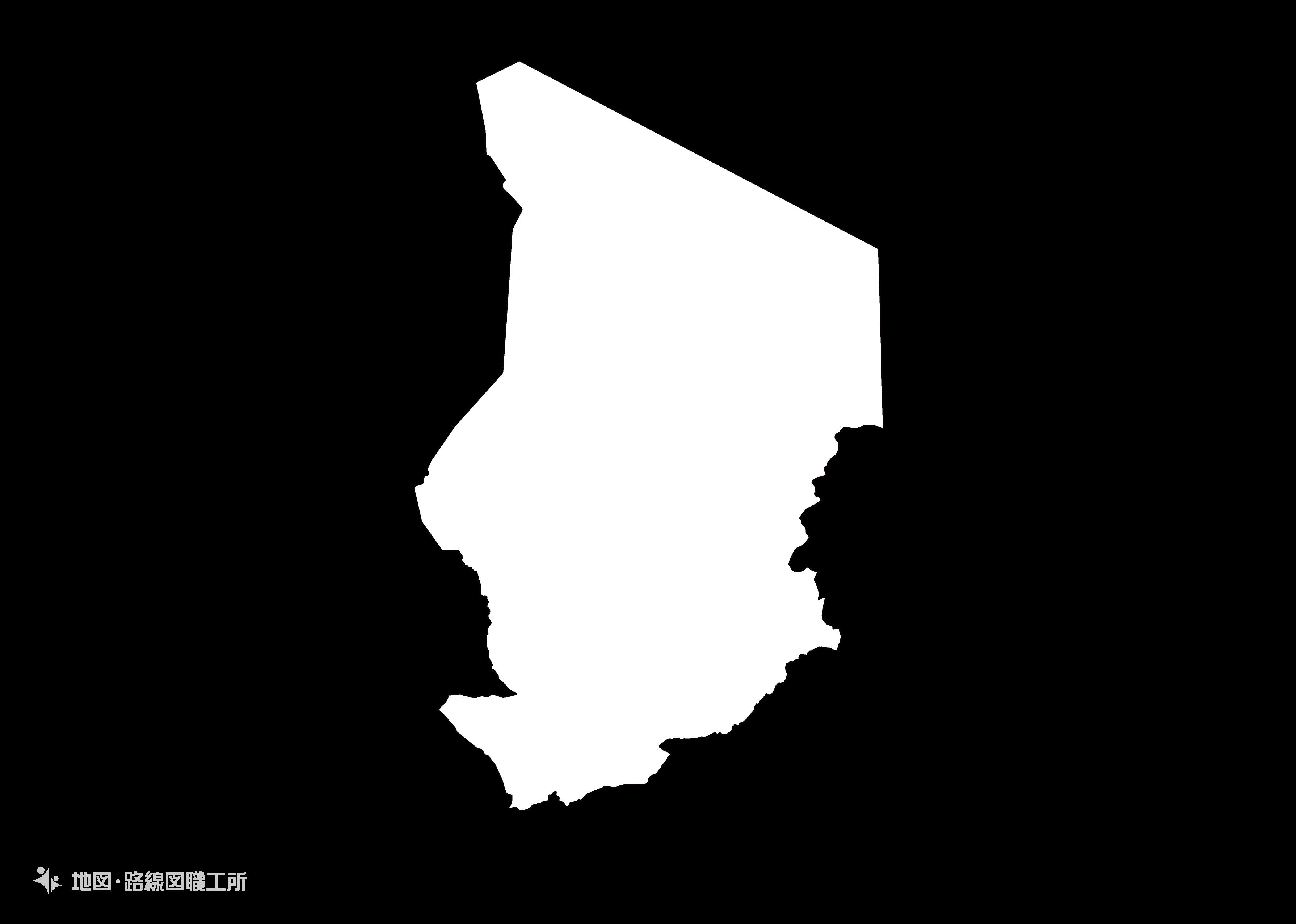 世界の白地図 チャド共和国 republic-of-chad map