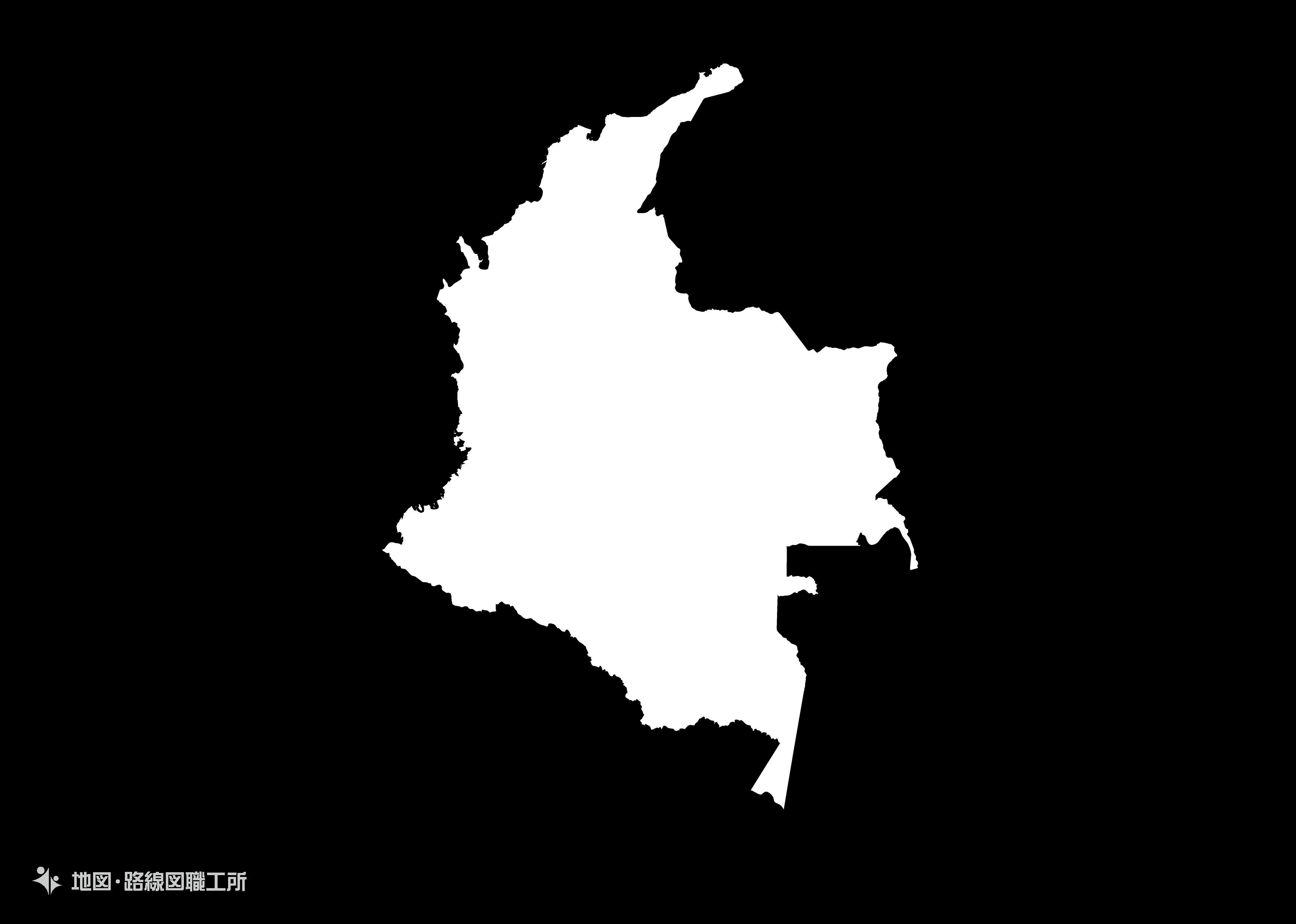 世界の白地図 コロンビア共和国 republic-of-colombia map