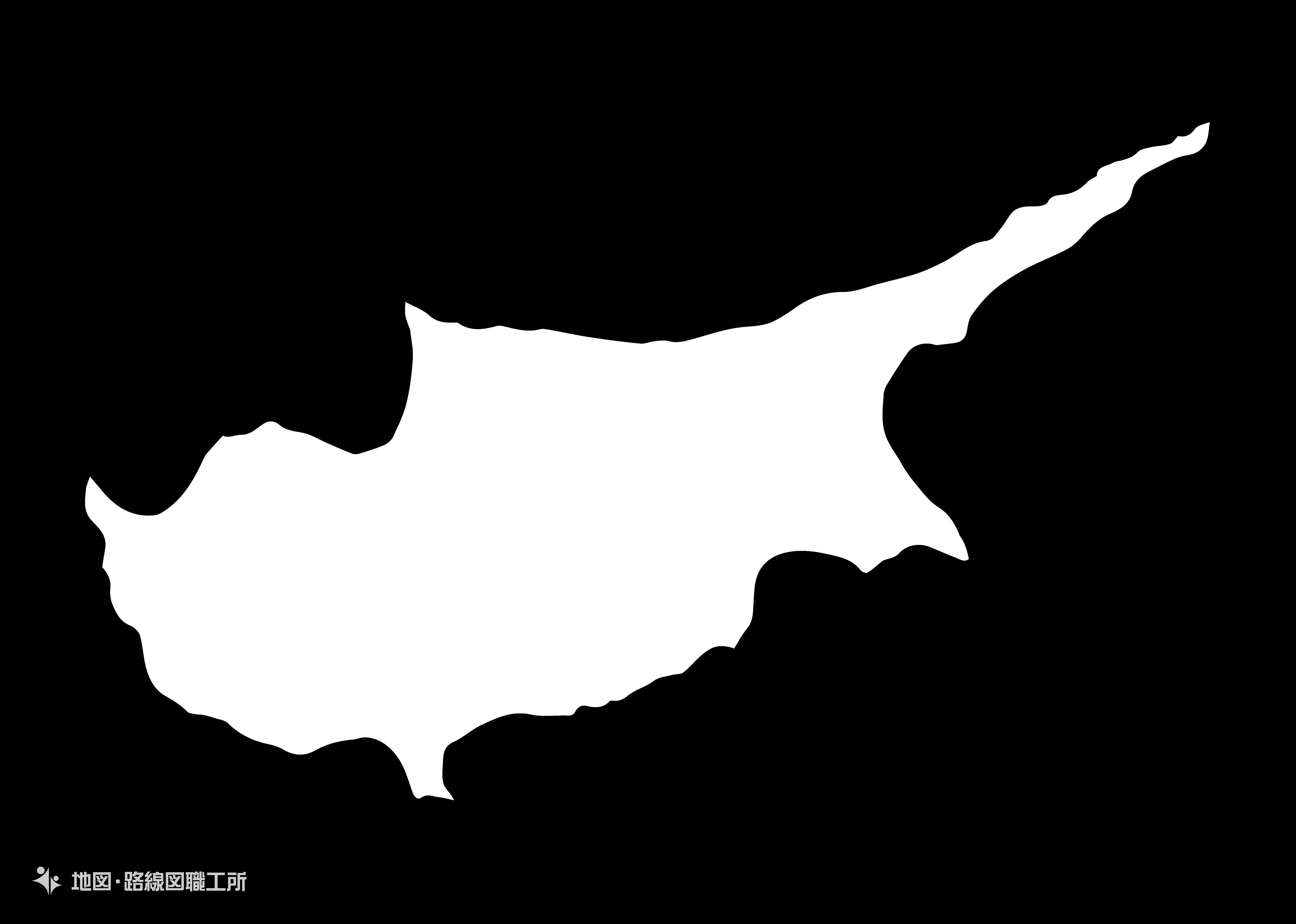 世界の白地図 キプロス共和国 republic-of-cyprus map