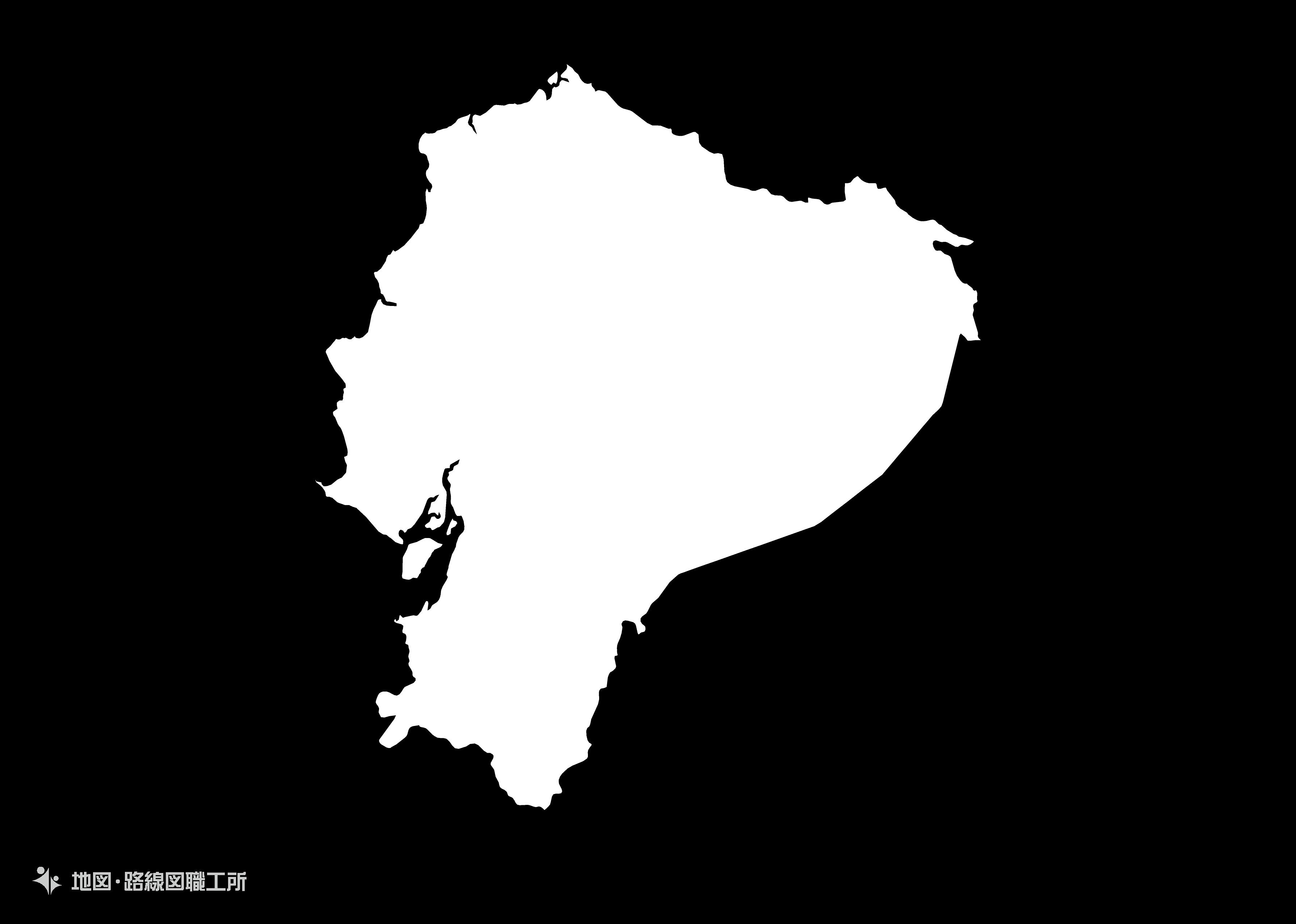 世界の白地図 エクアドル共和国 republic-of-ecuador map