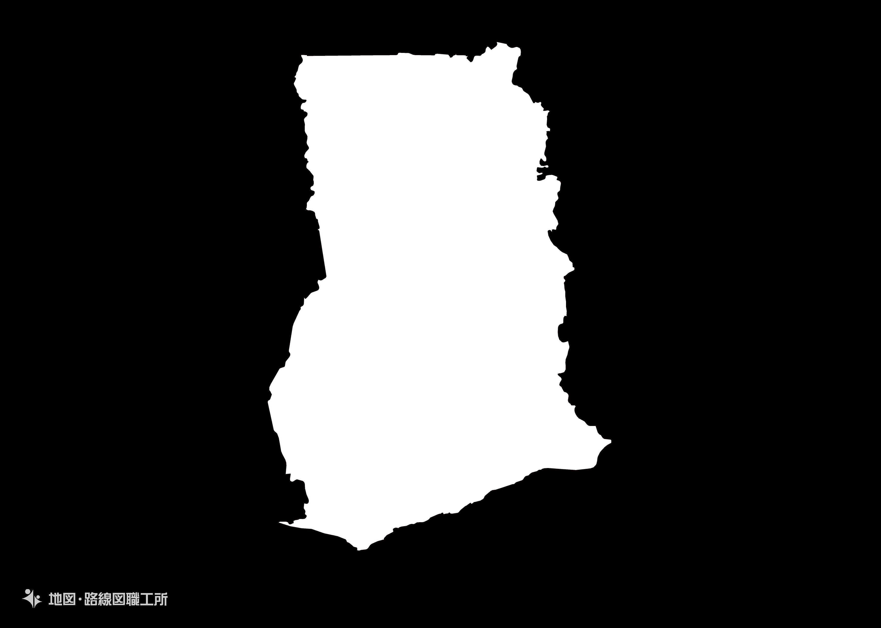 世界の白地図 ガーナ共和国 republic-of-ghana map