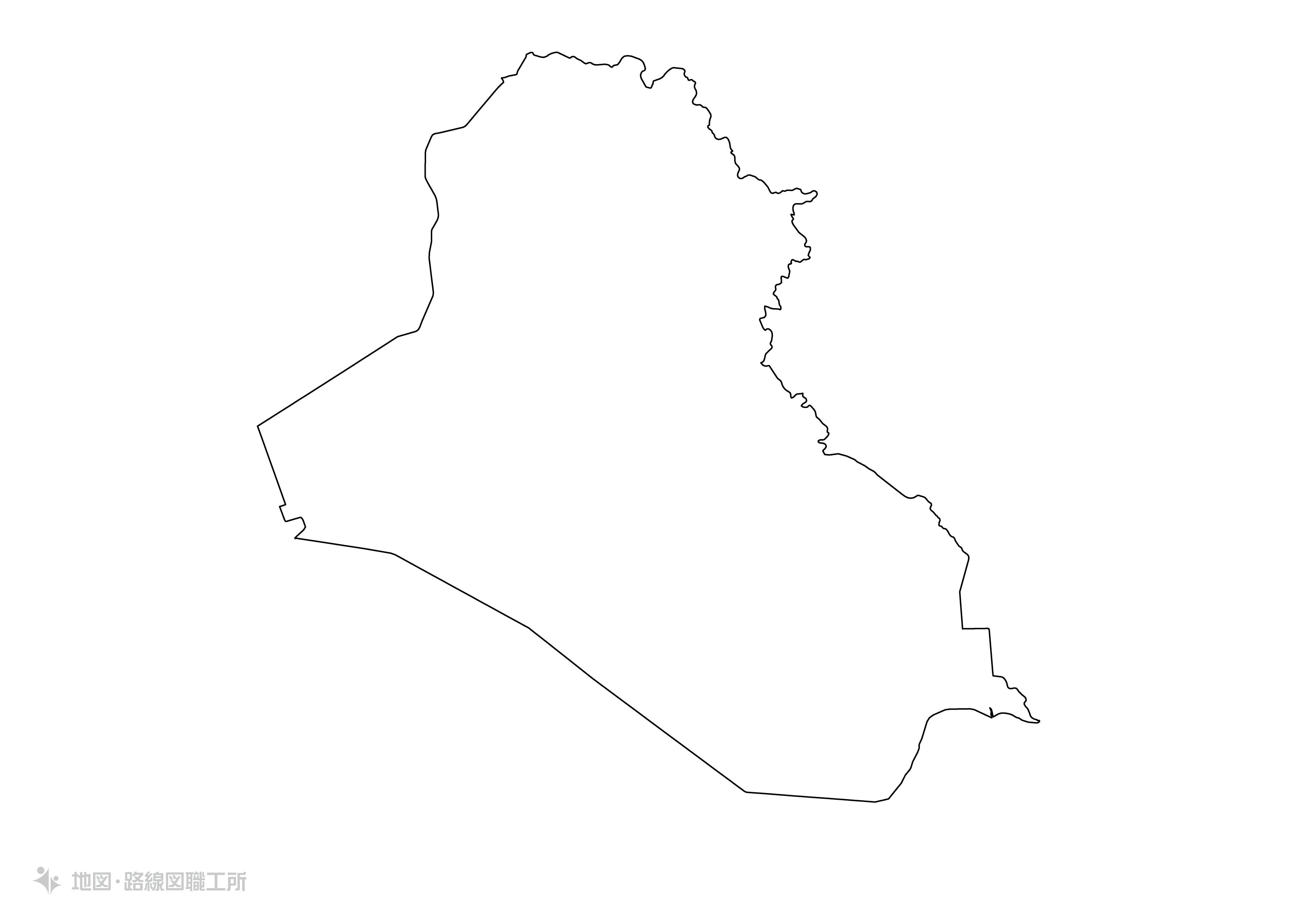 世界の白地図 イラク共和国 republic-of-iraq map
