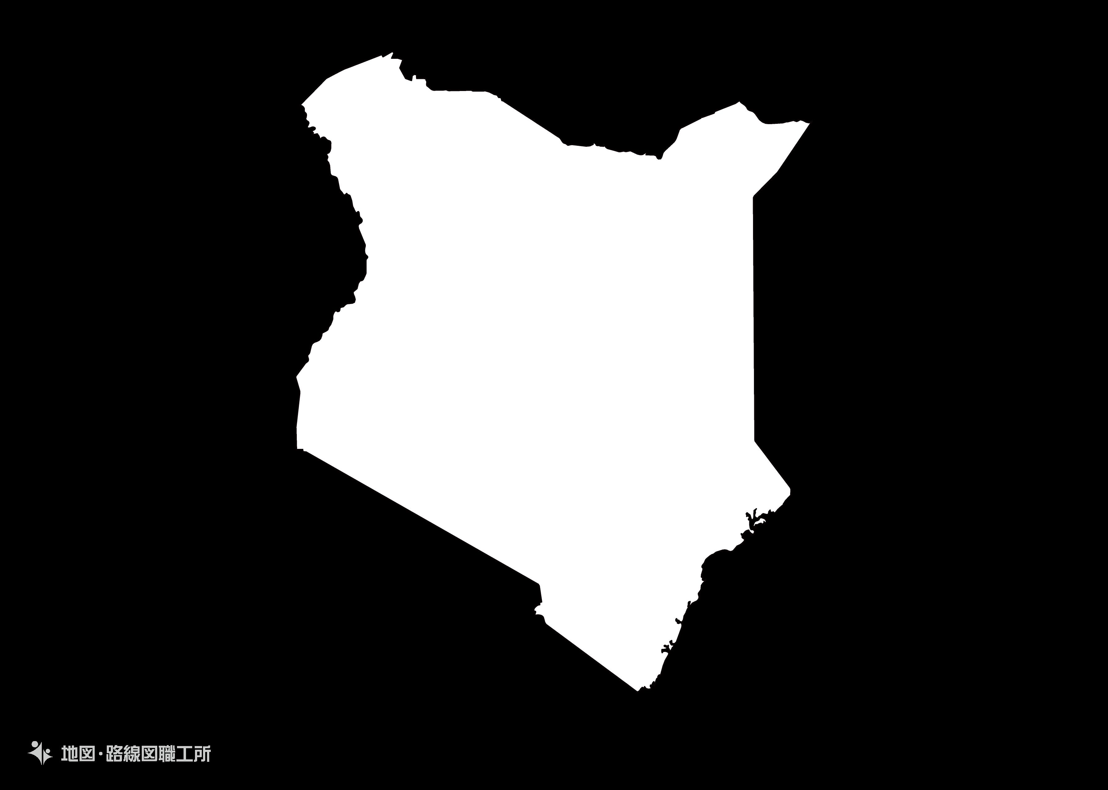 世界の白地図 ケニア共和国 republic-of-kenya map