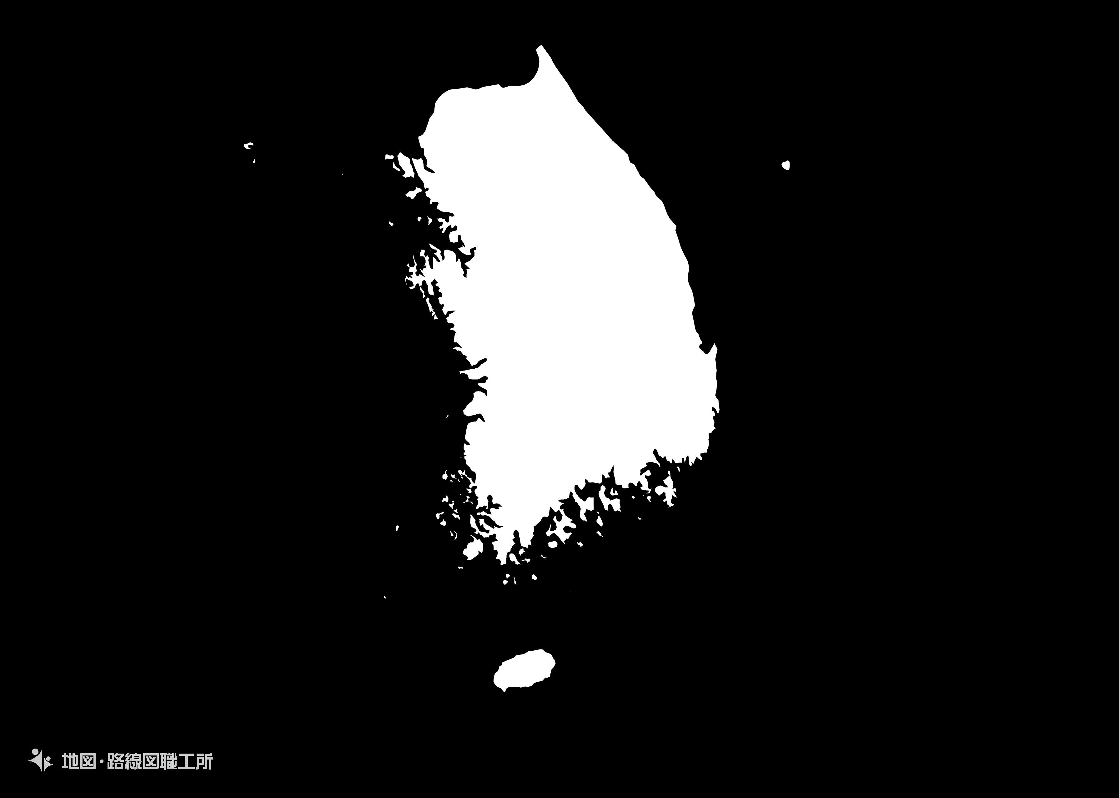 世界の白地図 大韓民国 republic-of-korea map