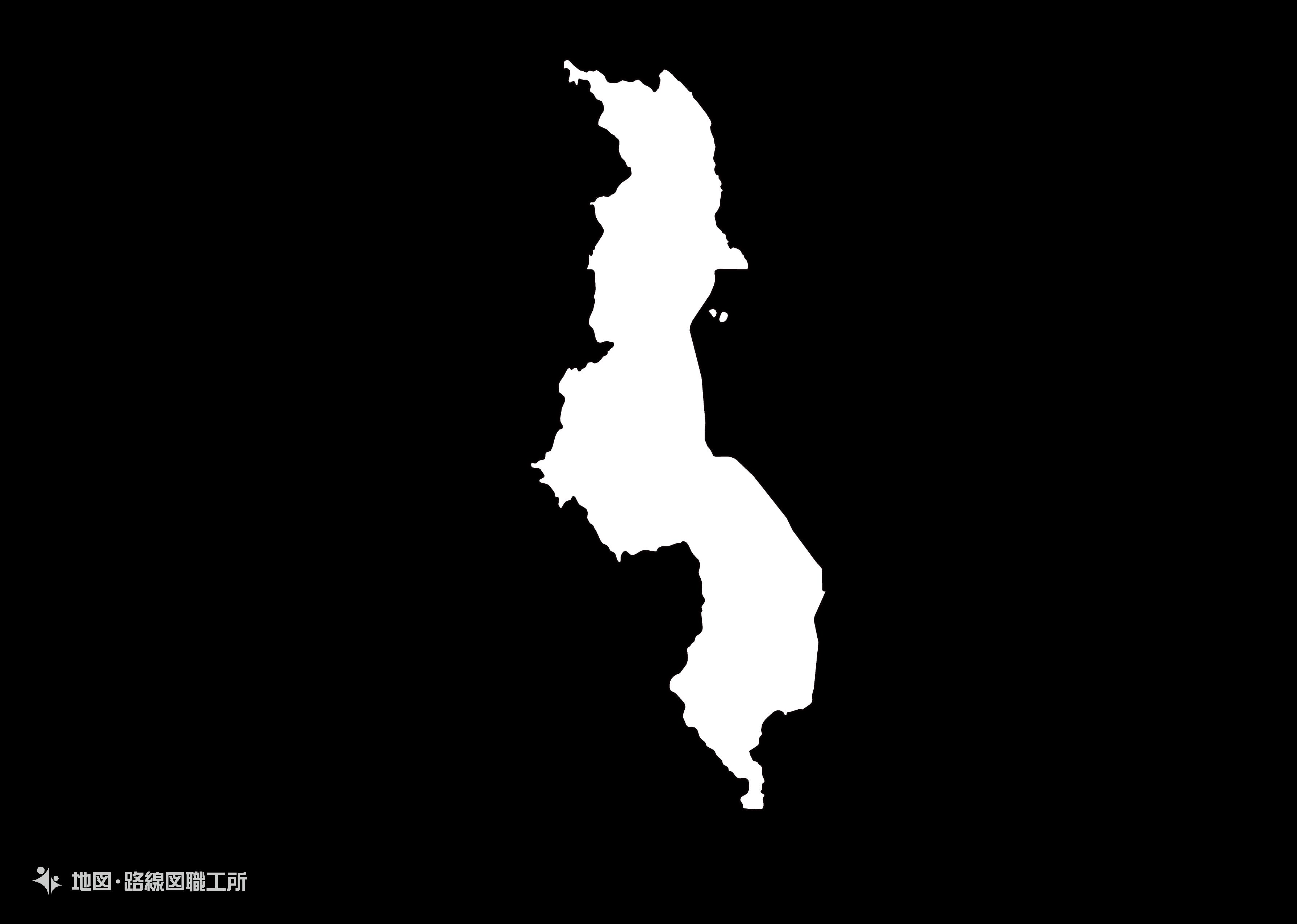 世界の白地図 マラウィ共和国 republic-of-malawi map