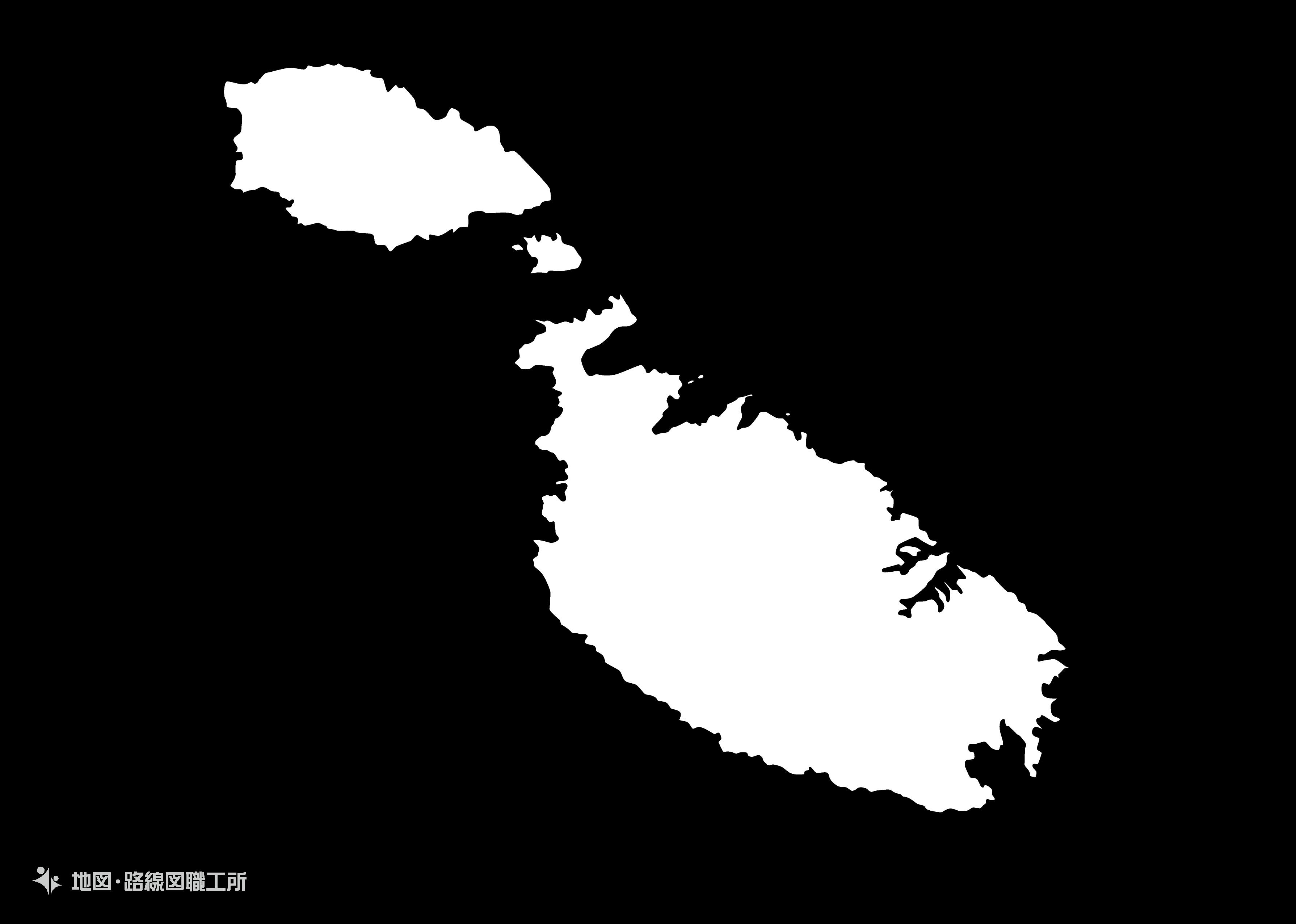 世界の白地図 マルタ共和国 republic-of-malta map