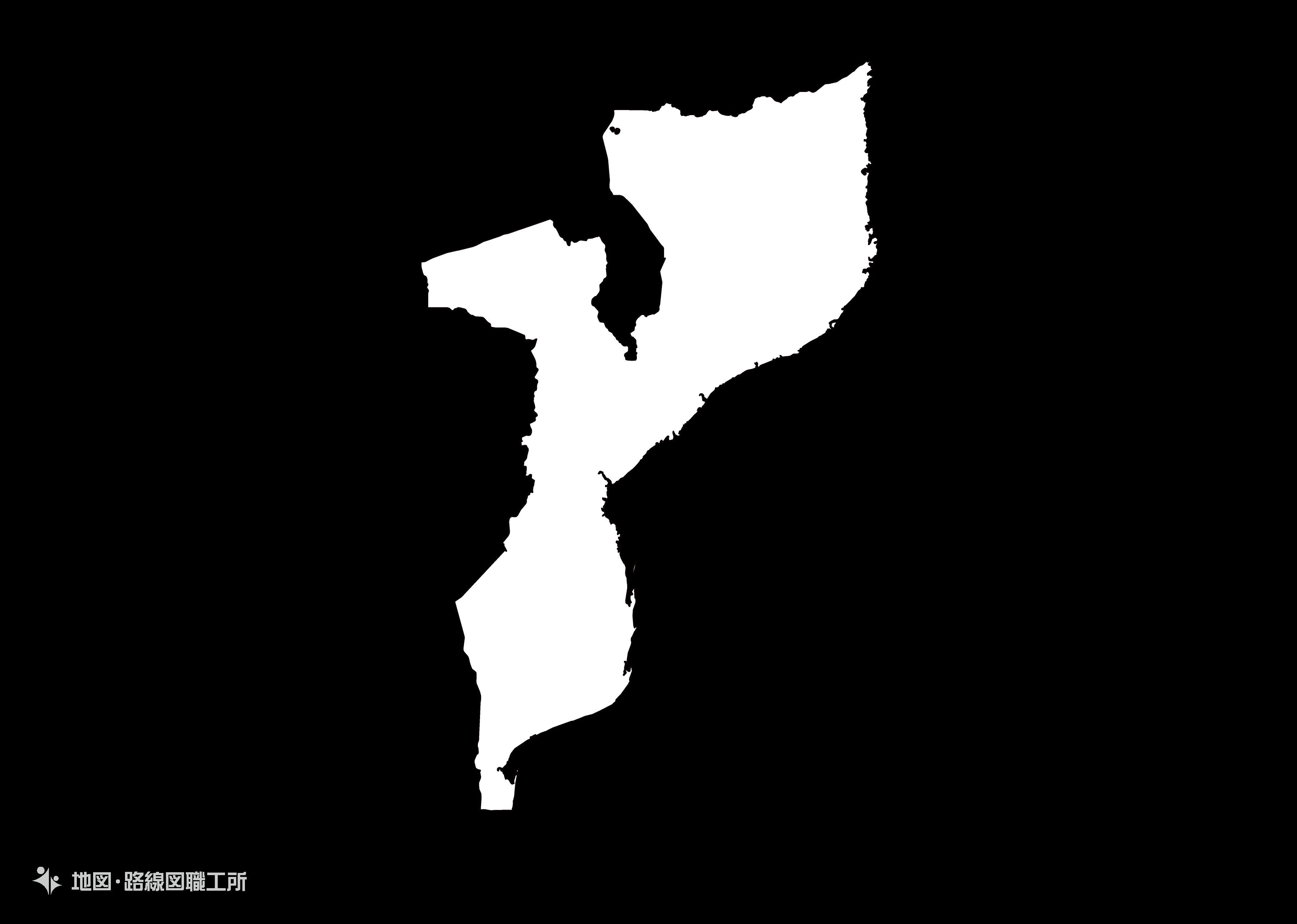 世界の白地図 モザンビーク共和国 republic-of-mozambique map