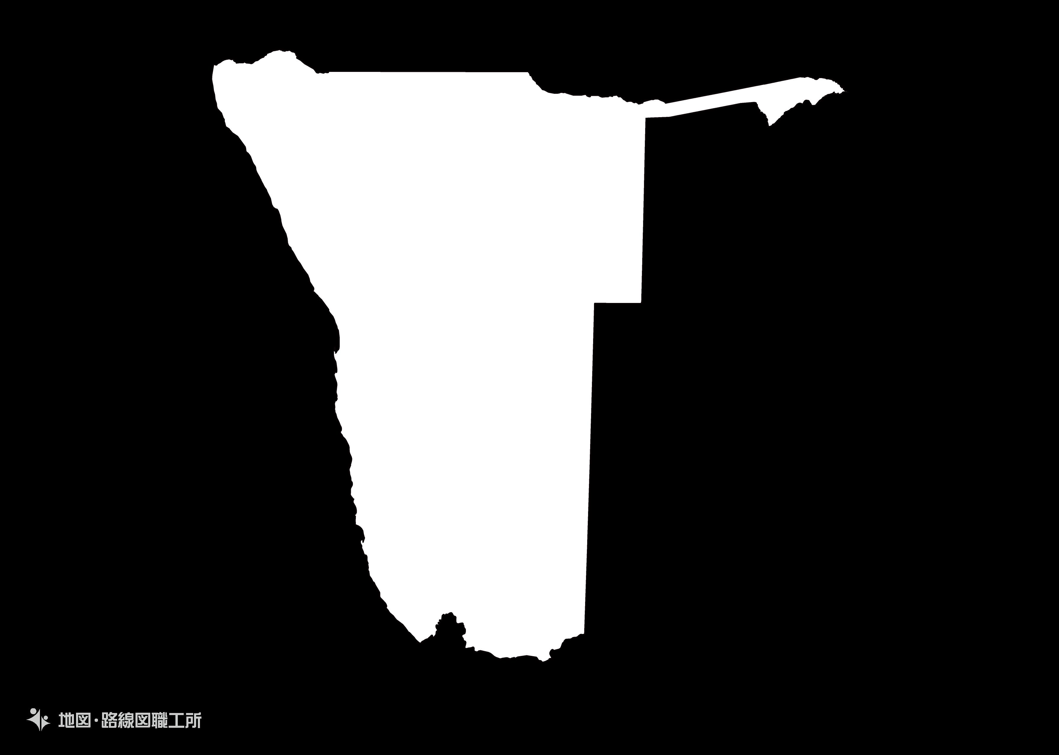 世界の白地図 ナミビア共和国 republic-of-namibia map