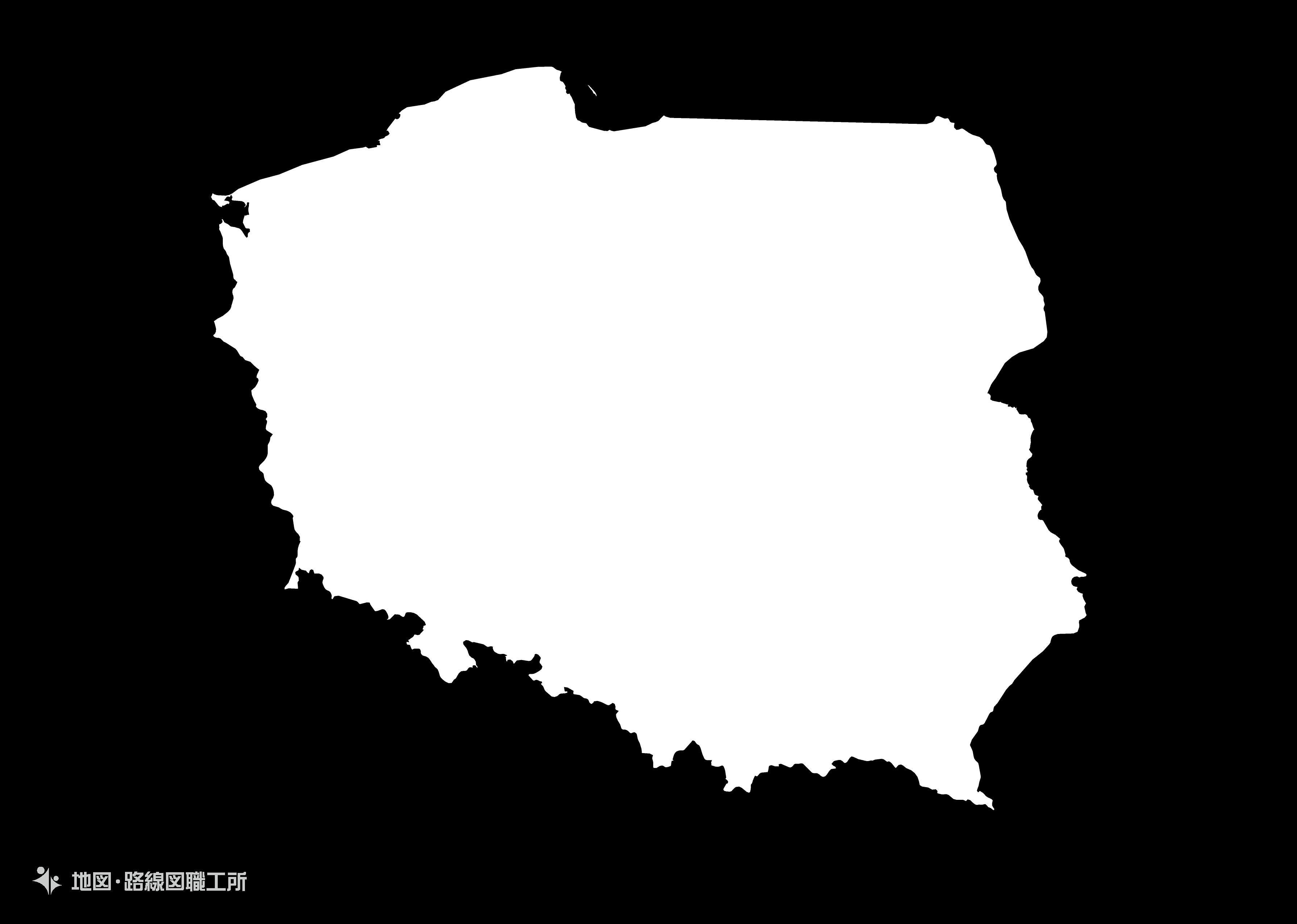 世界の白地図 ポーランド共和国 republic-of-poland map