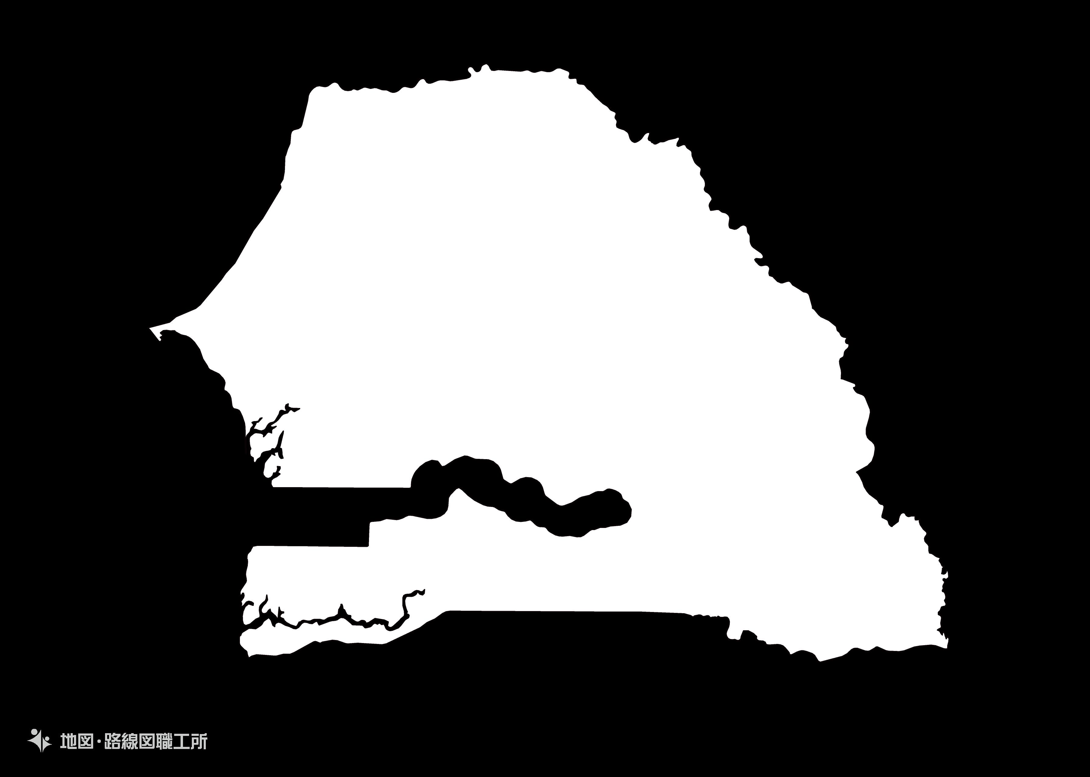 世界の白地図 セネガル共和国 epublic-of-senegal map