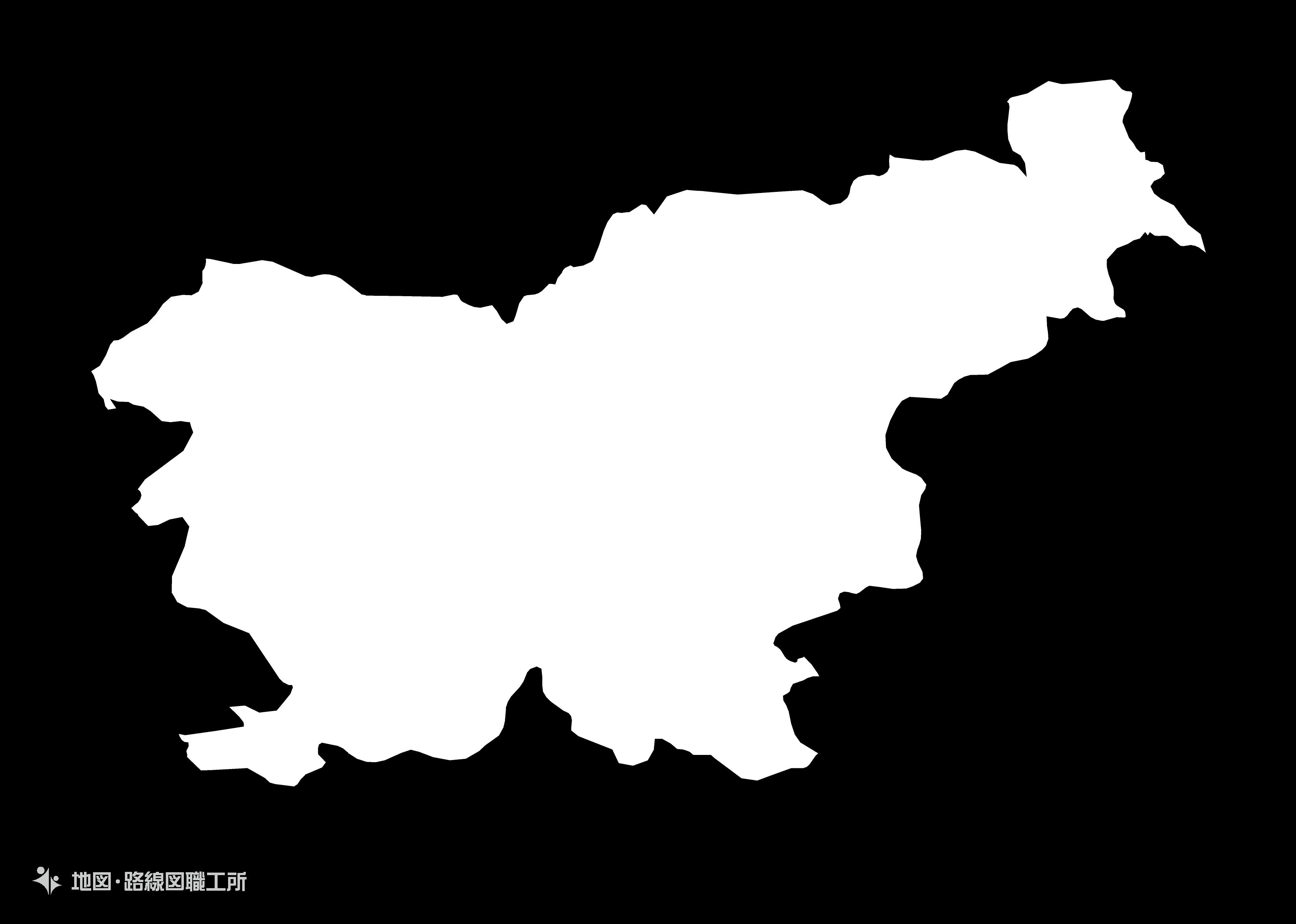 世界の白地図 スロベニア共和国 republic-of-slovenia map