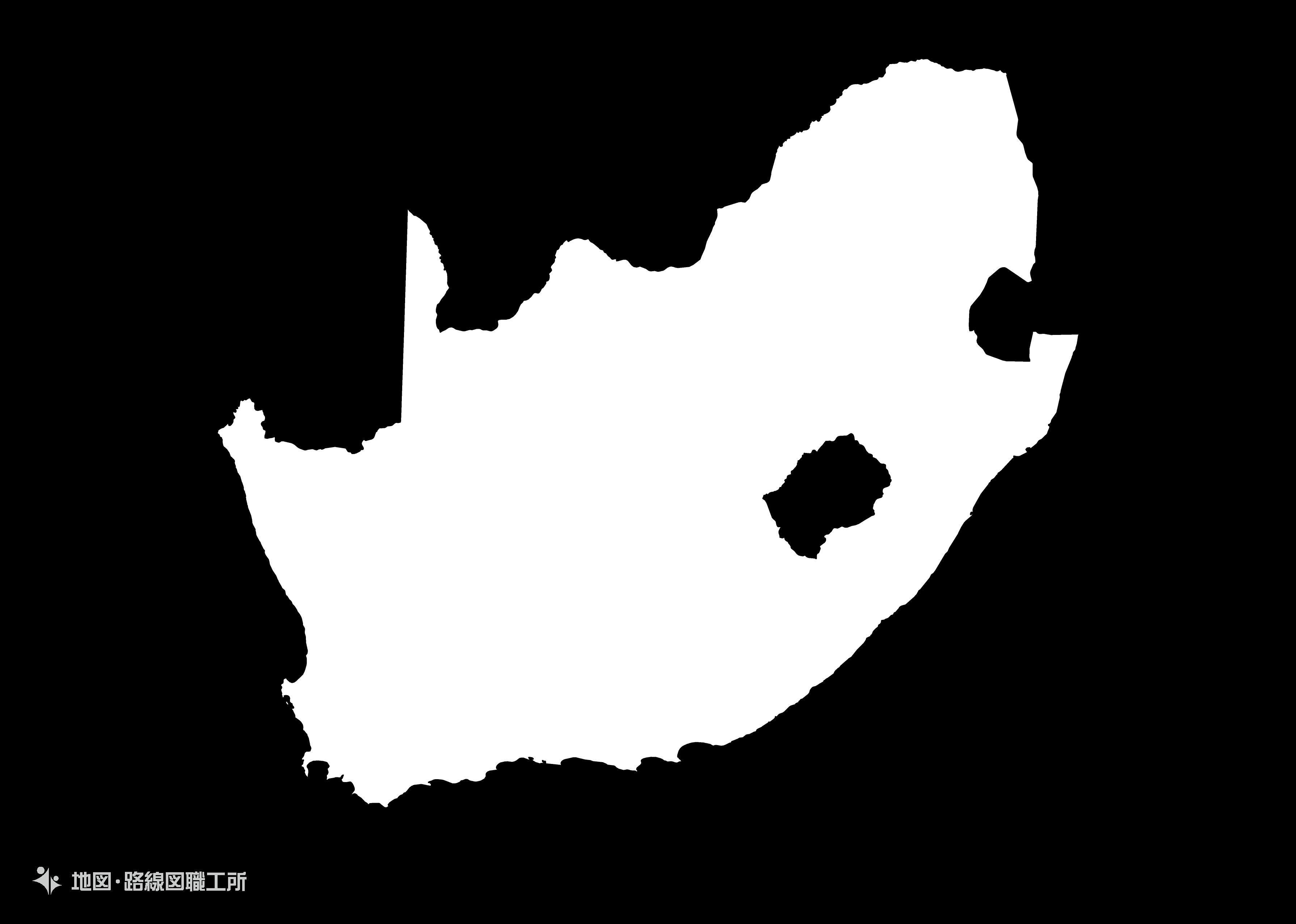 世界の白地図 南アフリカ共和国 republic-of-south-africa map