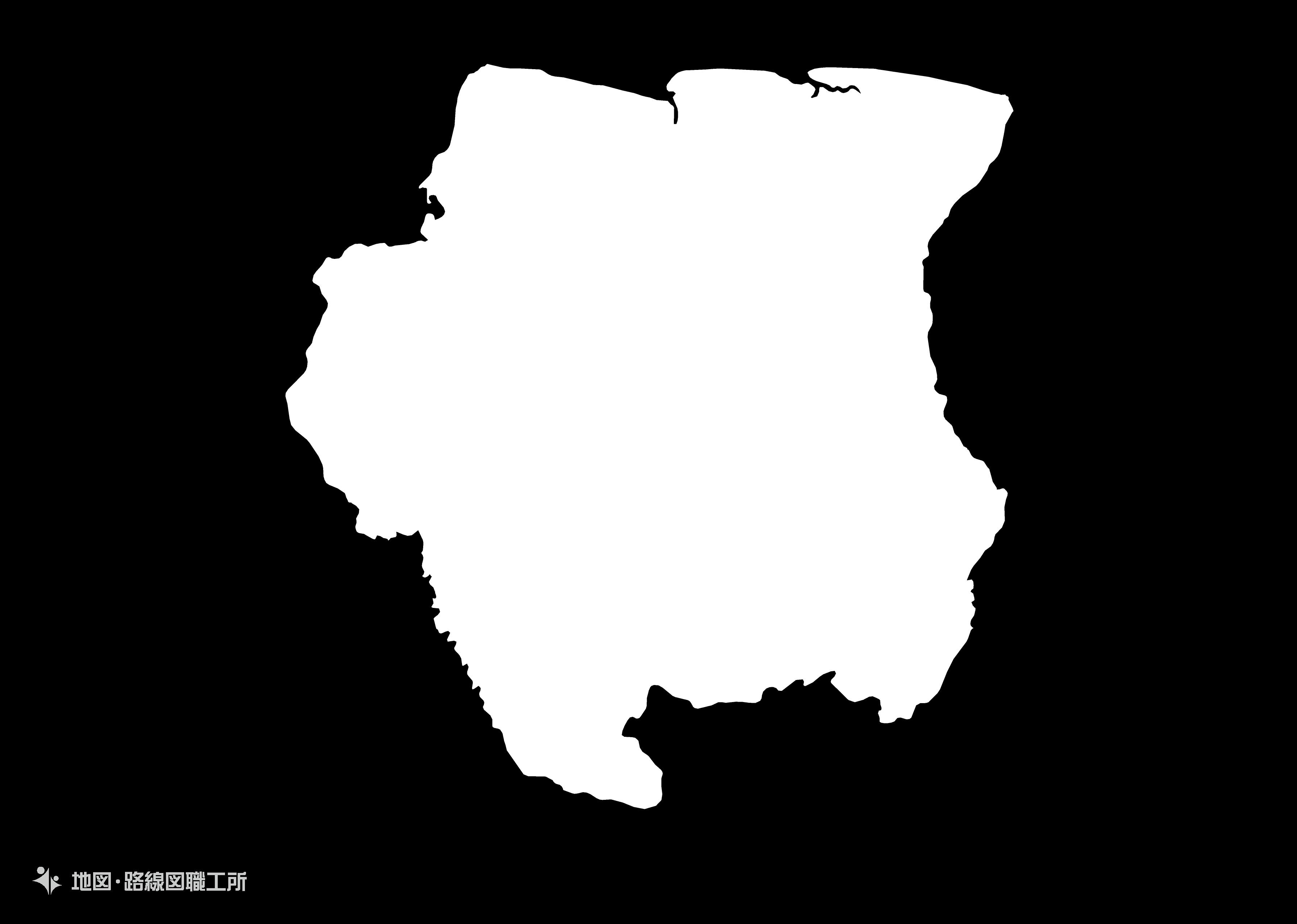 世界の白地図 スリナム共和国 republic-of-suriname map
