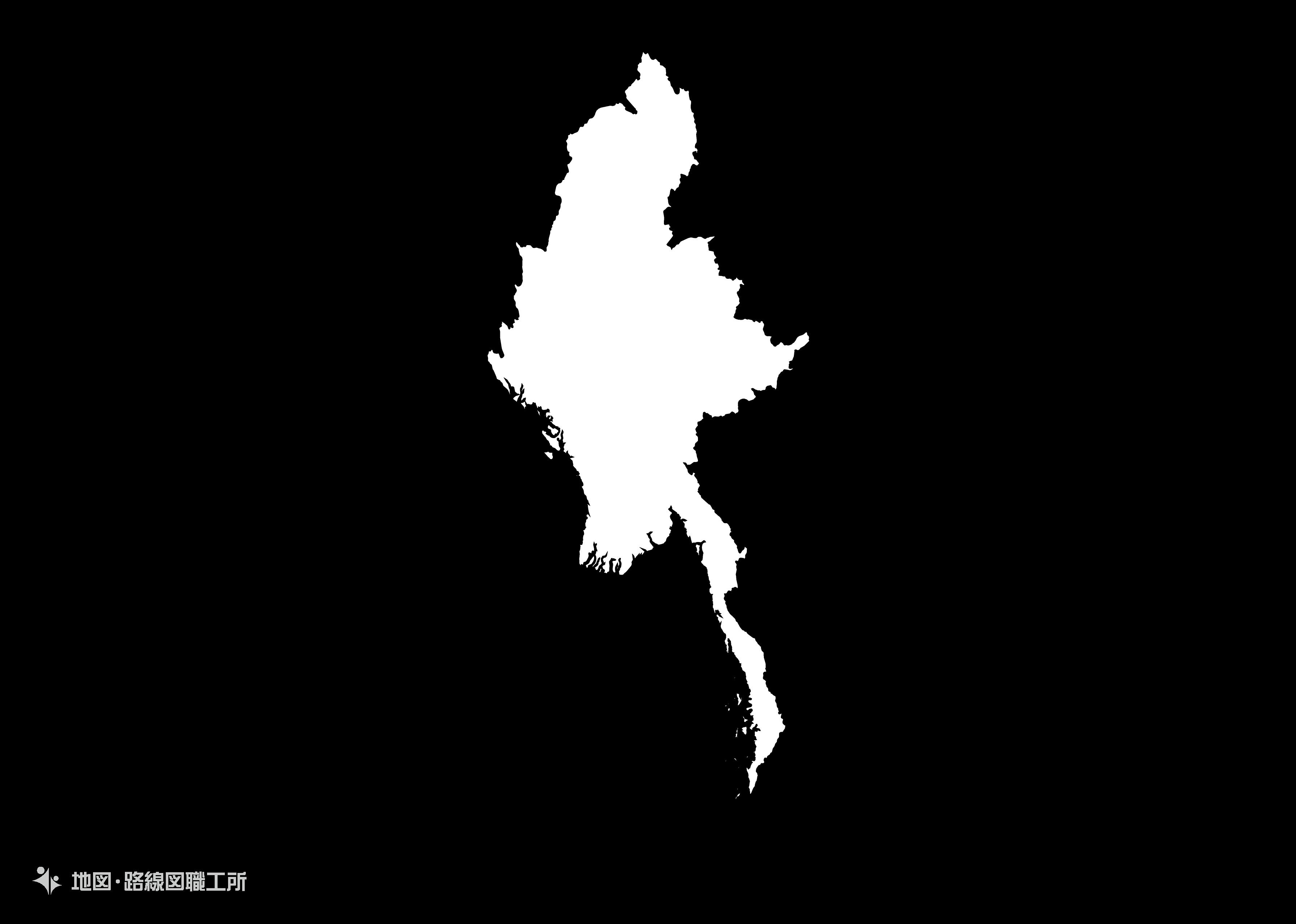 世界の白地図 ミャンマー連合共和国 republic-of-the-union-of-myanmar map