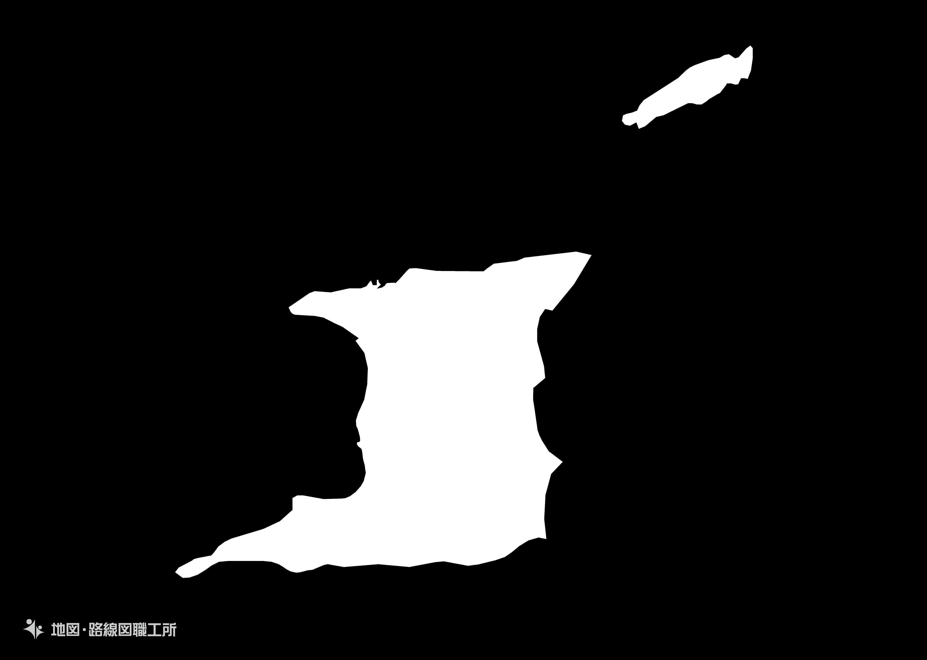 世界の白地図 トリニダード・トバゴ共和国 republic-of-trinidad-and-tobago map