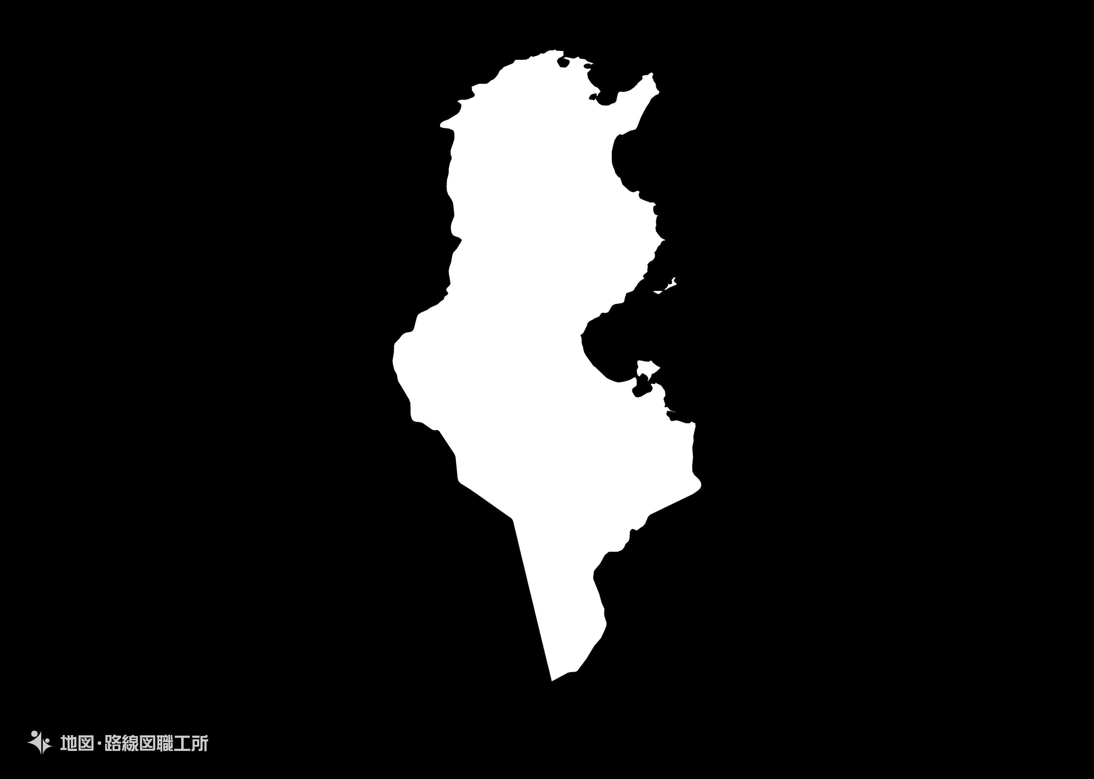 世界の白地図 チュニジア共和国 republic-of-tunisia map