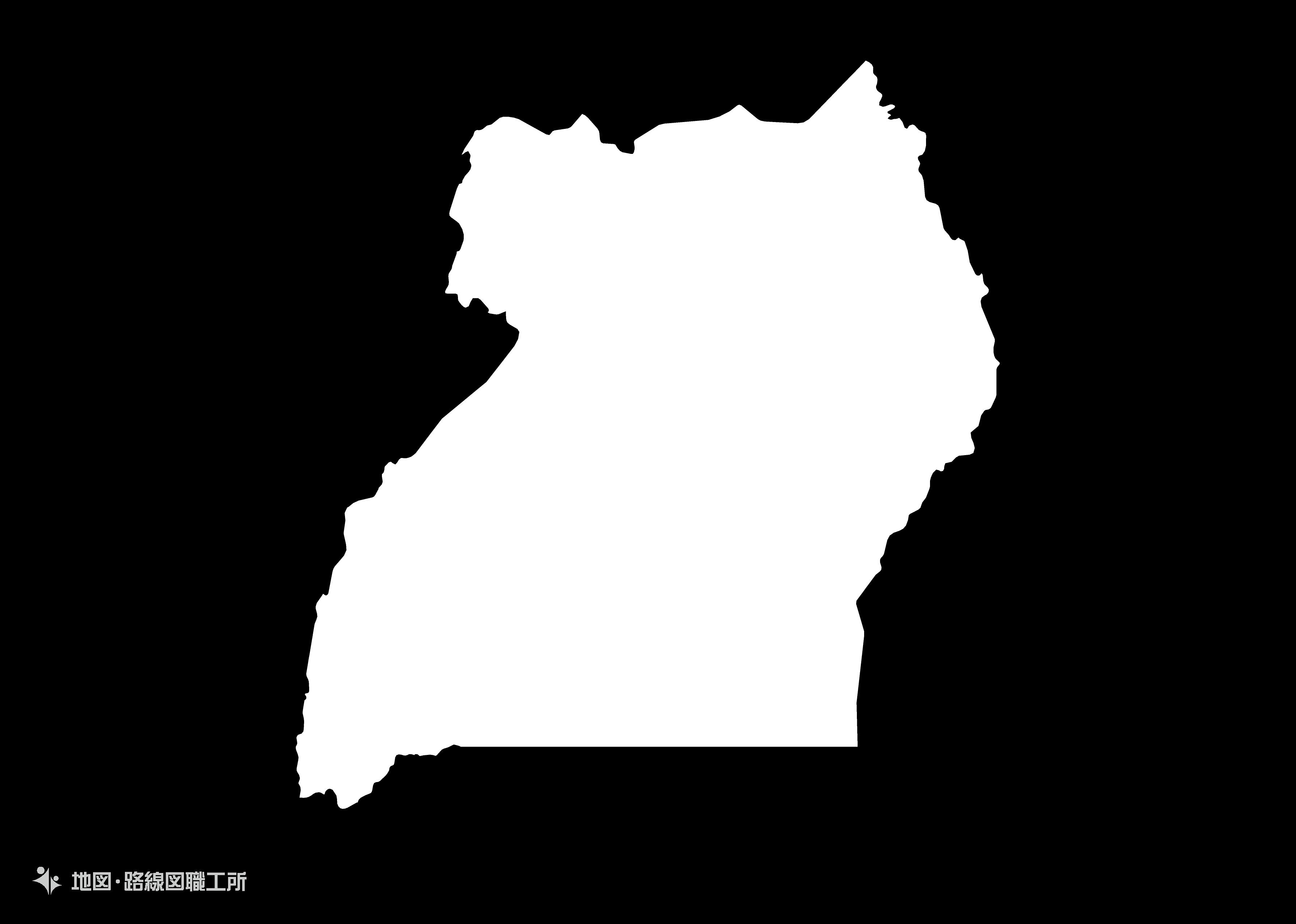 世界の白地図 ウガンダ共和国 republic-of-uganda map