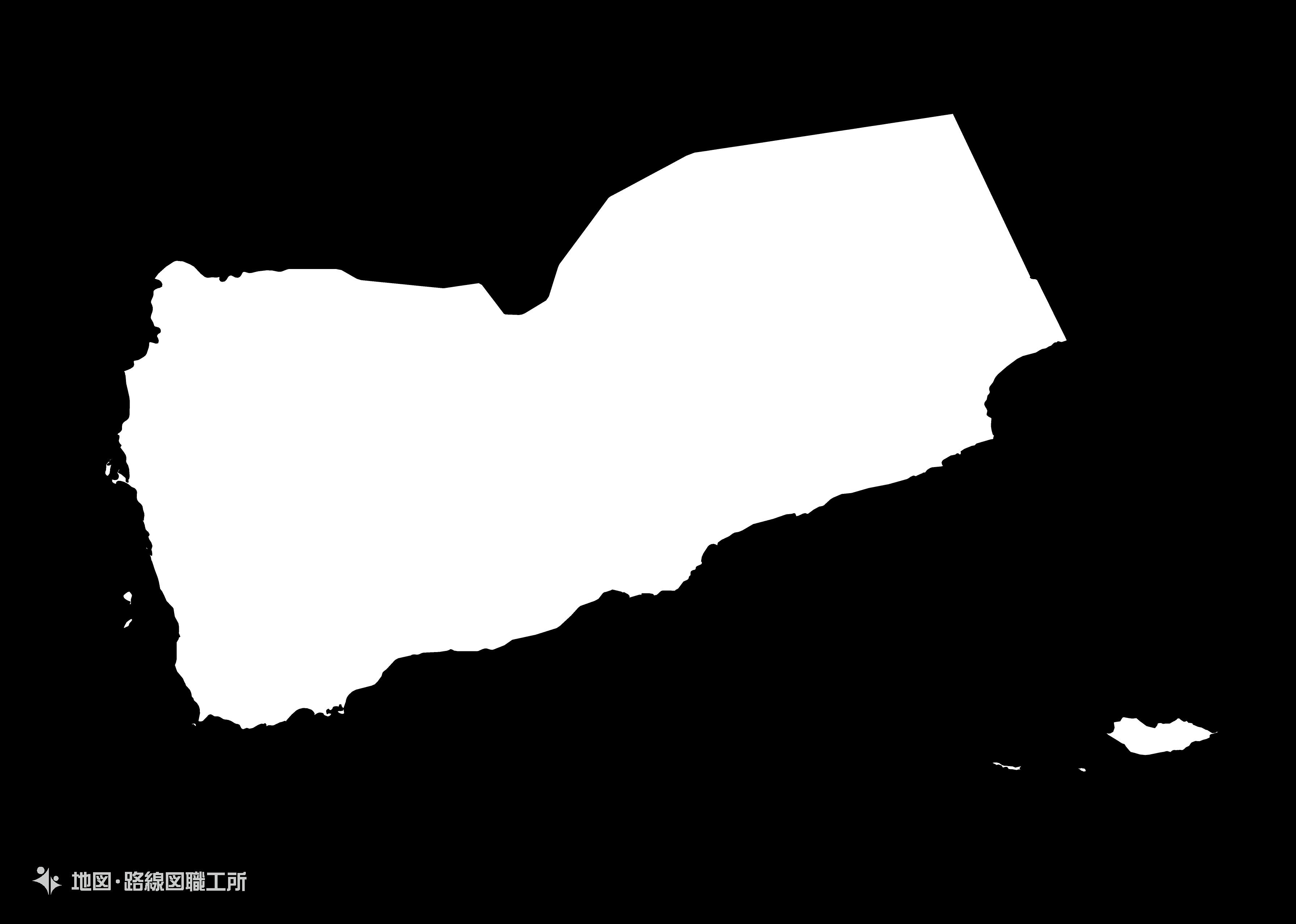 世界の白地図 イエメン共和国 republic-of-yemen map