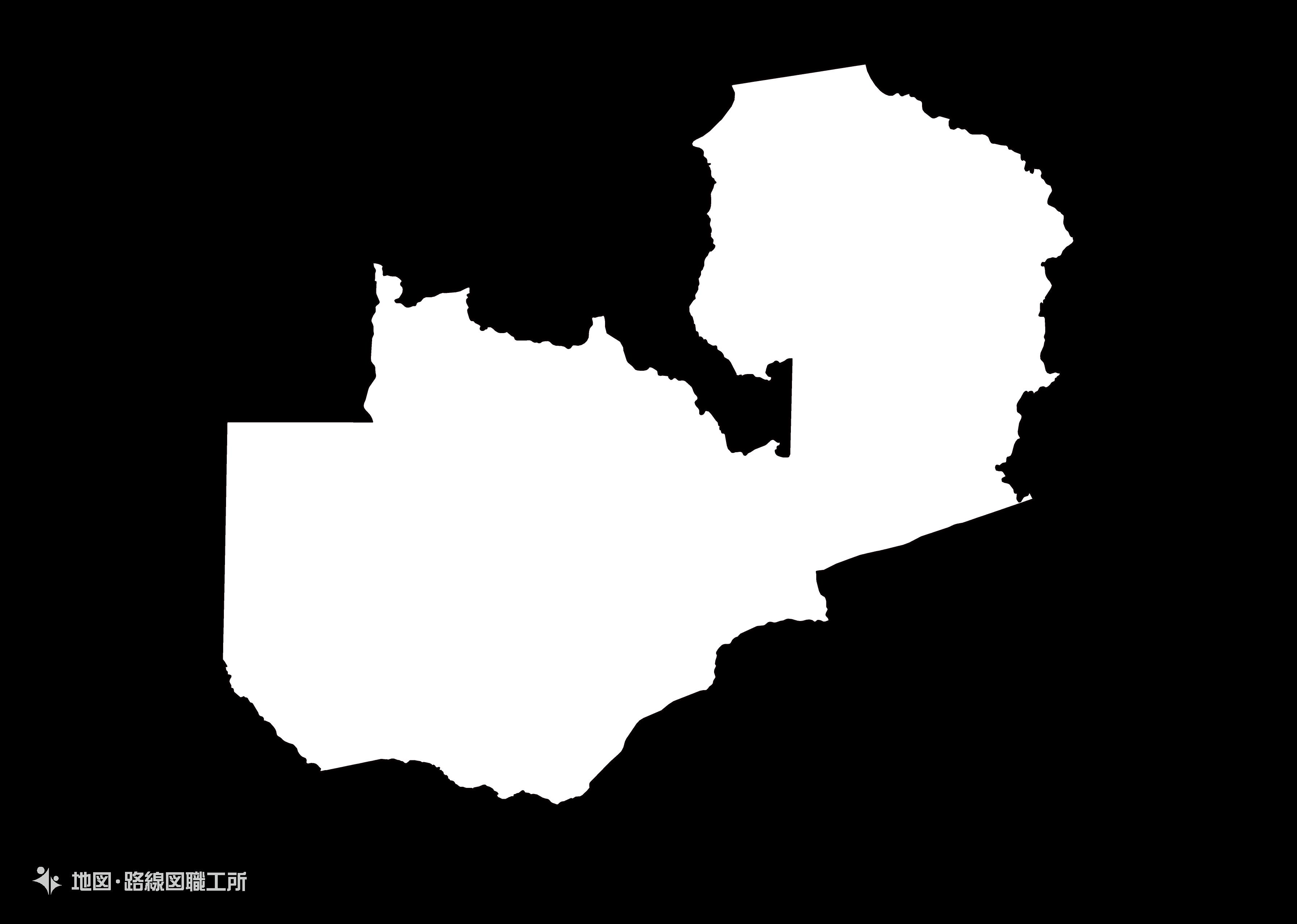 世界の白地図 ザンビア共和国 republic-of-zambia map