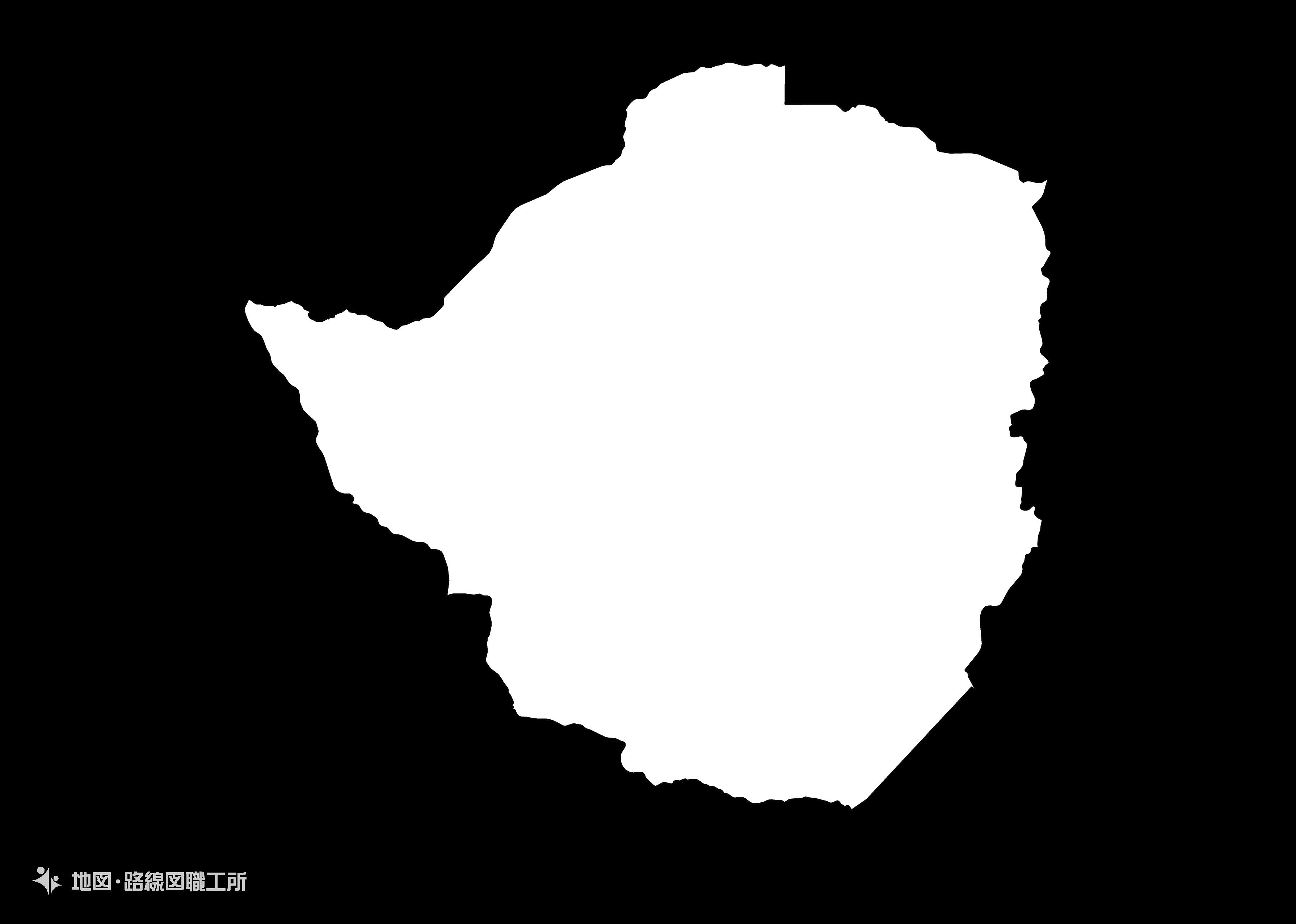 世界の白地図 ジンバブエ共和国 republic-of-zimbabwe map