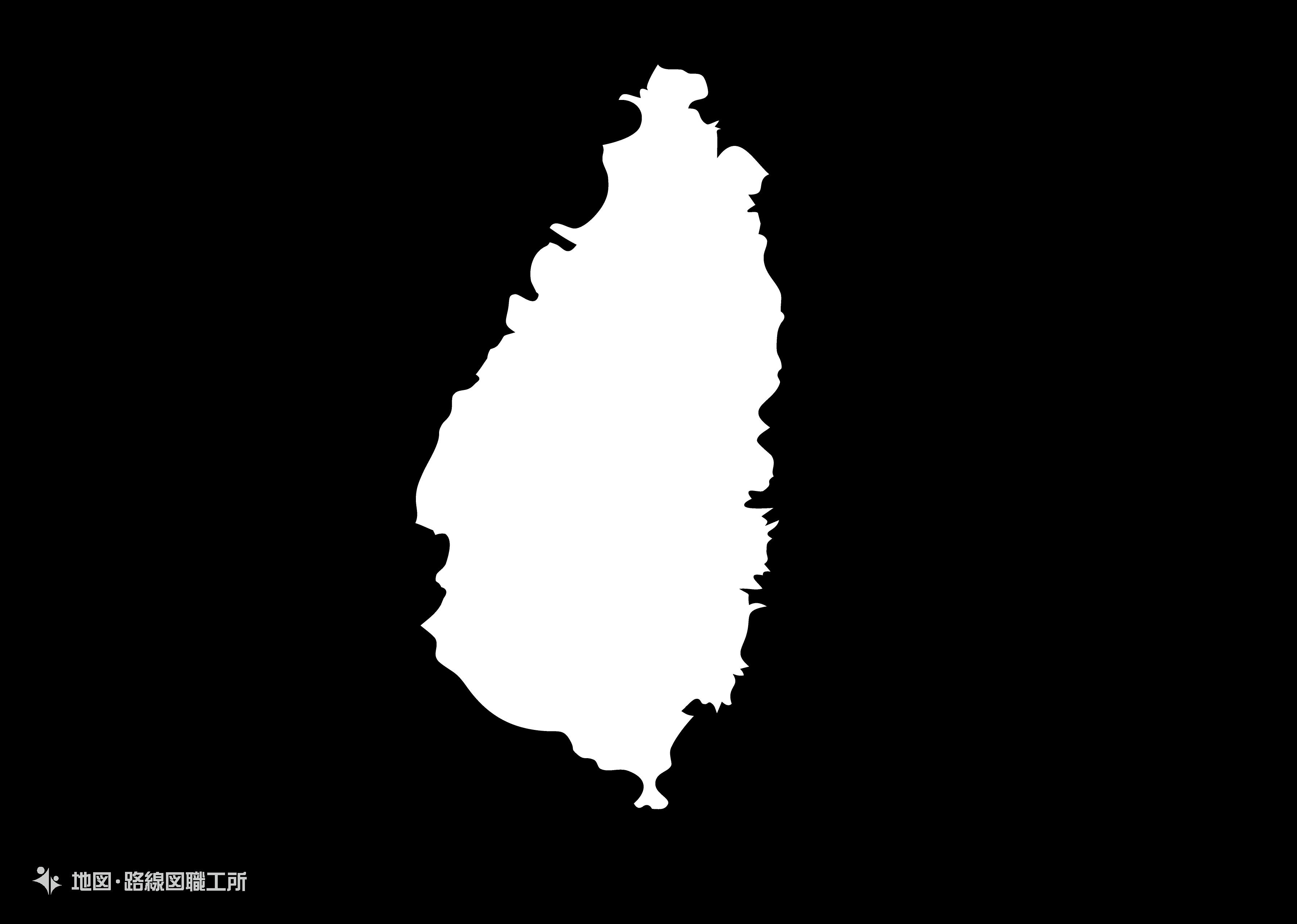 世界の白地図 セントルシア saint-lucia map