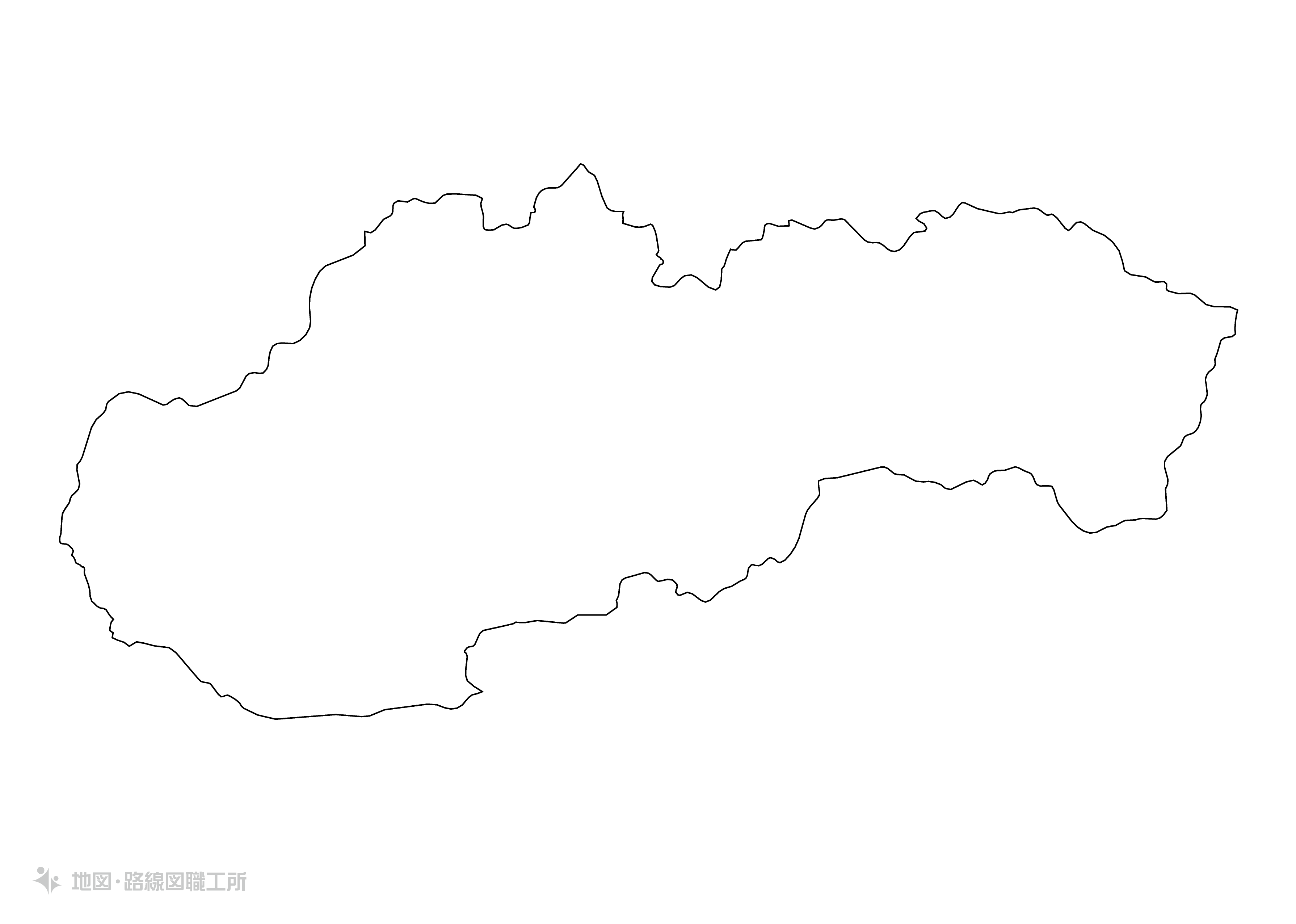 世界の白地図 スロバキア共和国 slovak-republic map