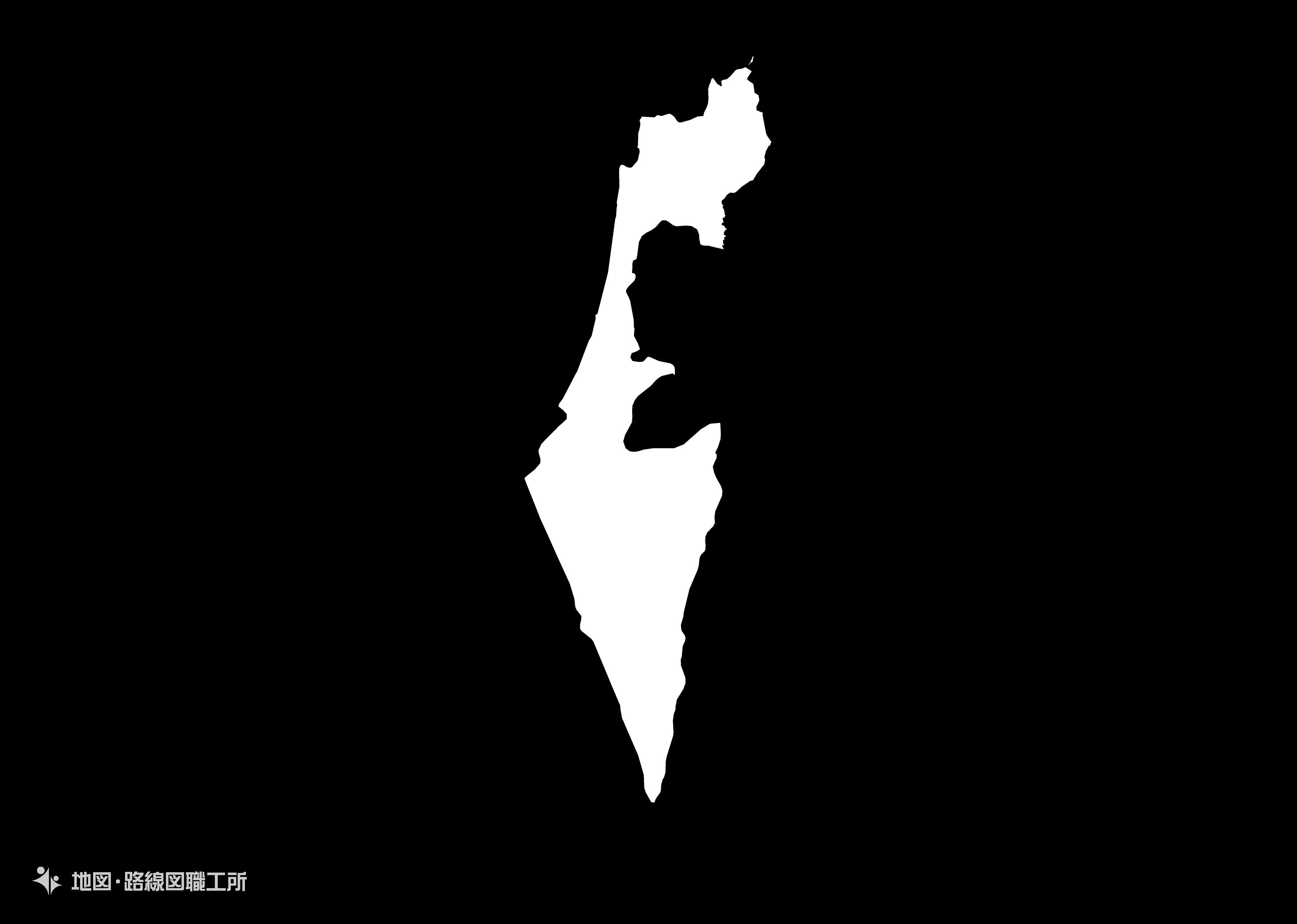 世界の白地図 イスラエル国 state-of-israel map