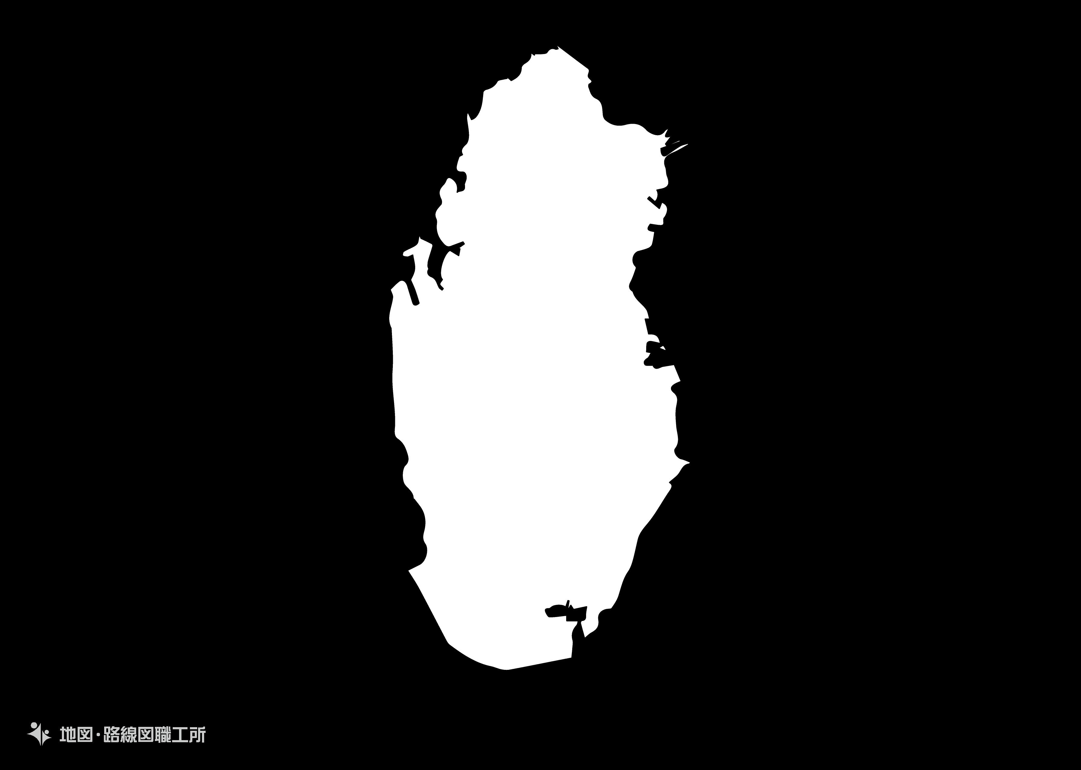 世界の白地図 カタール国 state-of-qatar map