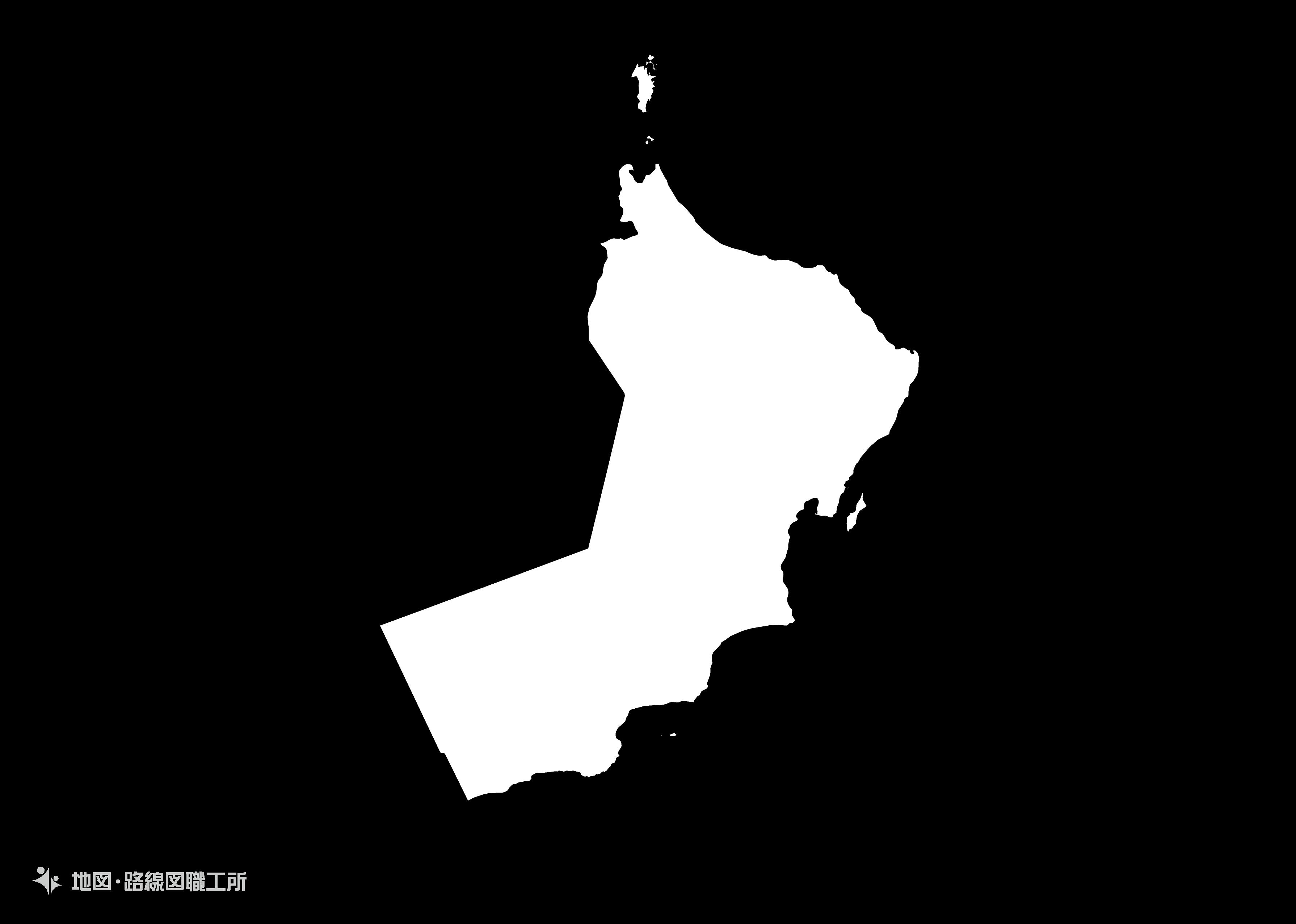 世界の白地図 オマーン国 sultanate-of-oman map