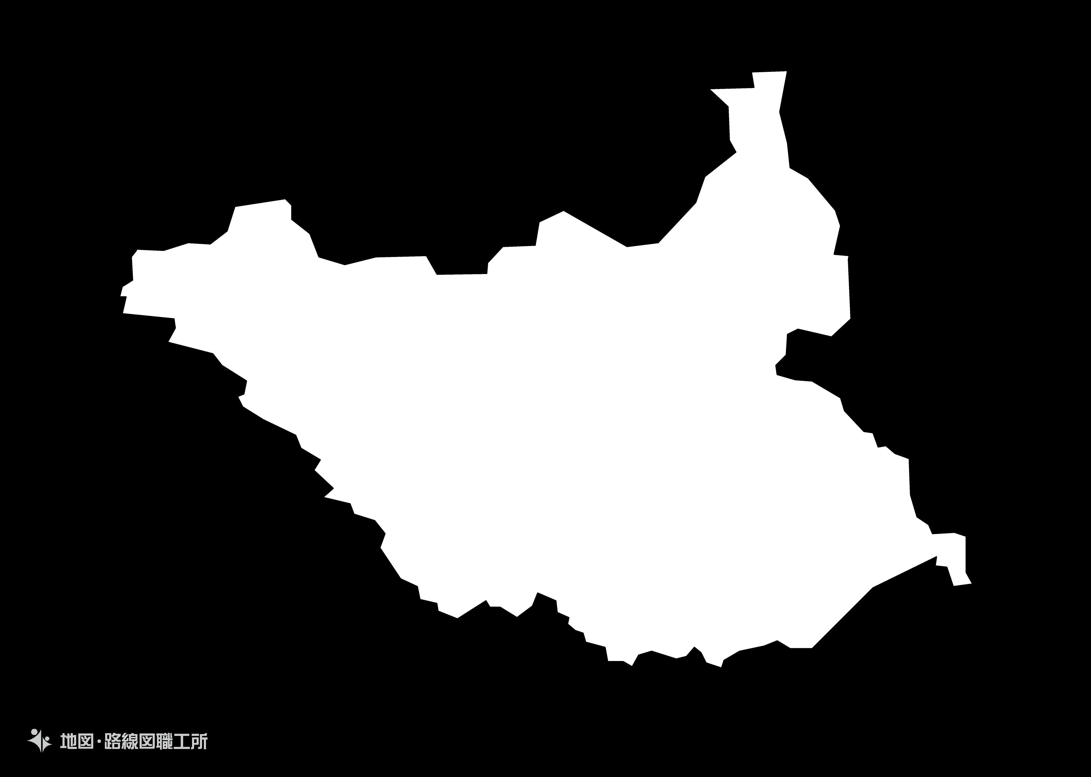 世界の白地図 南スーダン共和国 the-republic-of-south-sudan map
