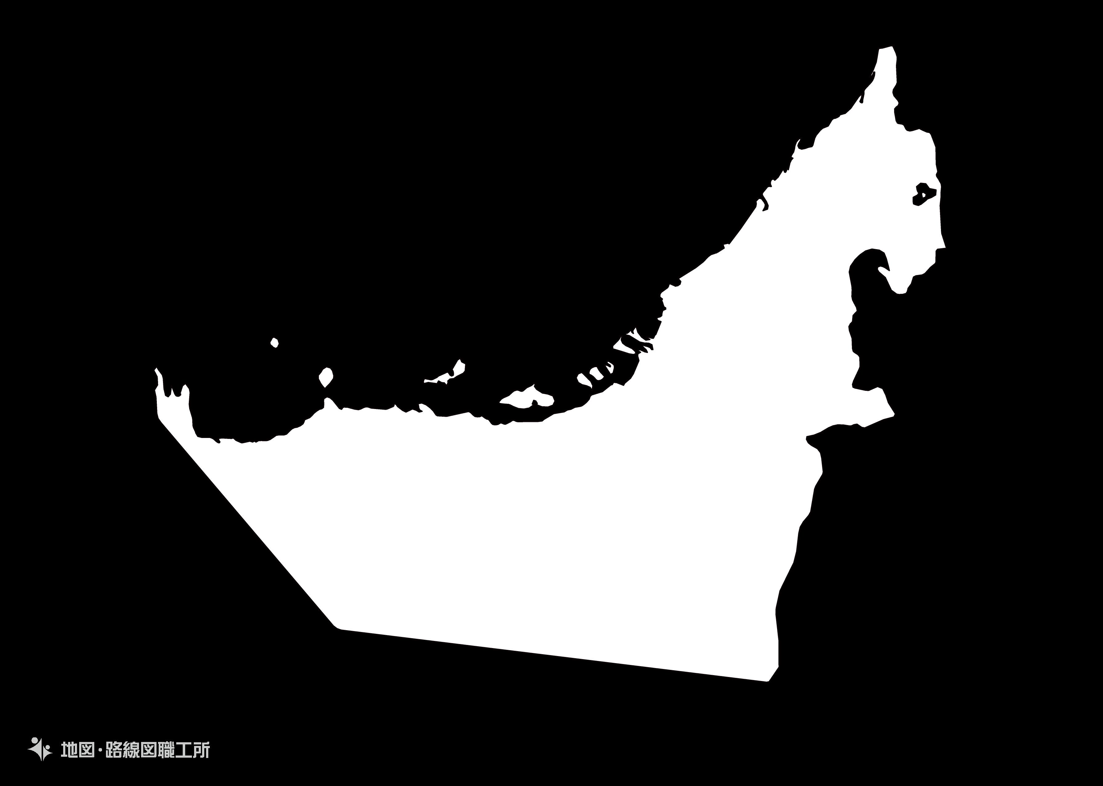 世界の白地図 アラブ首長国連邦 united-arab-emirates map