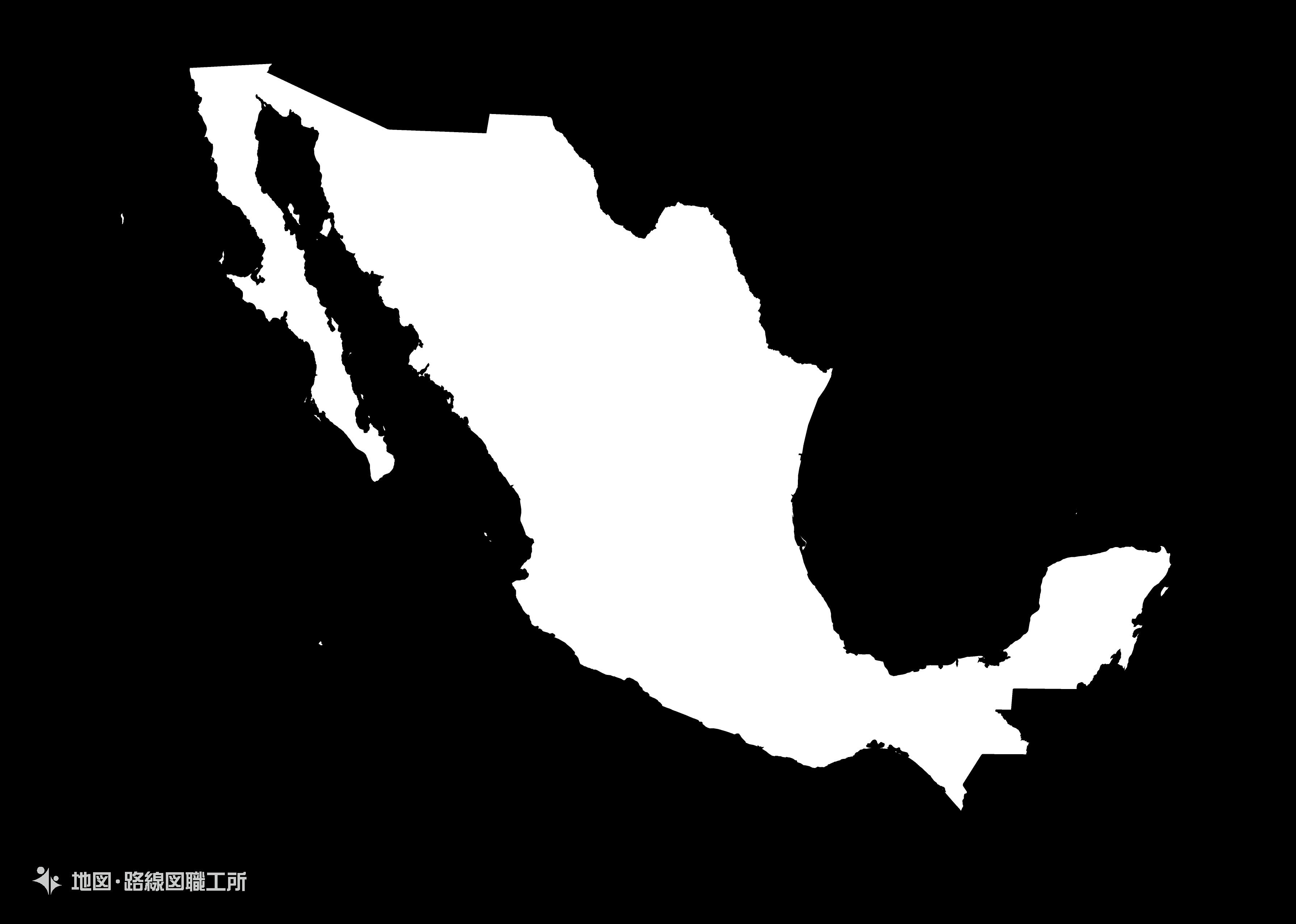 世界の白地図 メキシコ合衆国 united-mexican-statesmap