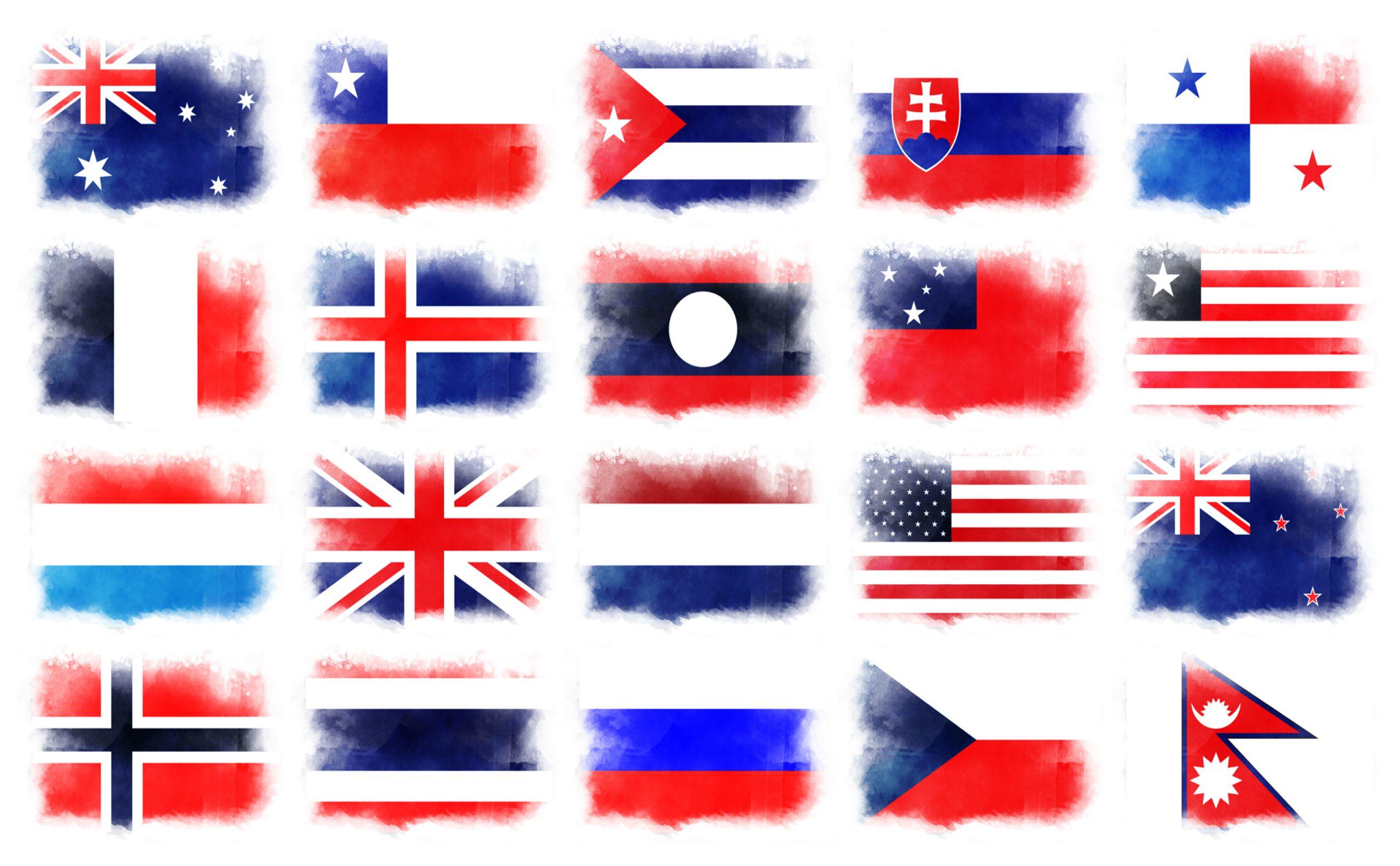赤白青3色旗20ヵ国一覧