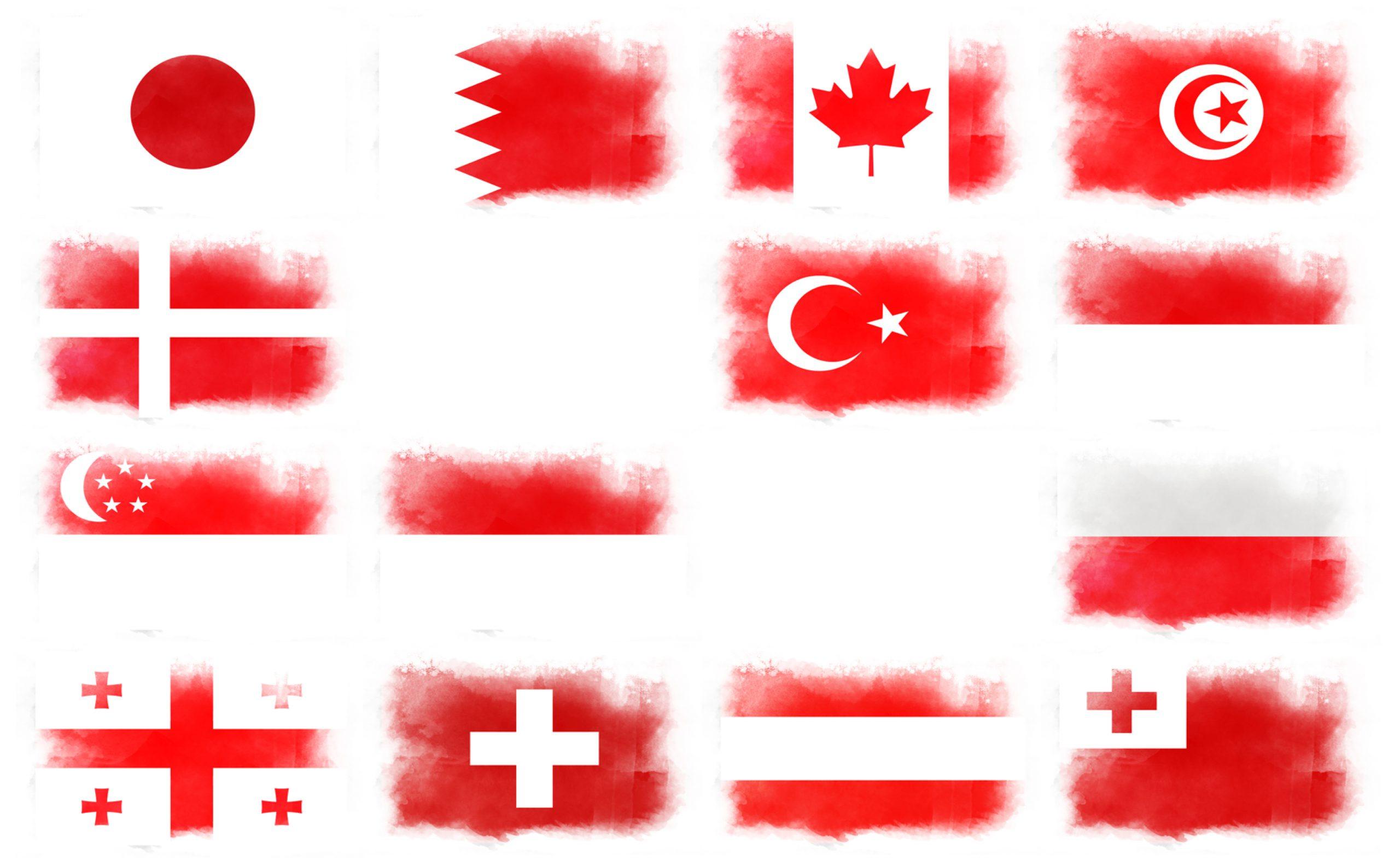 赤白2色国旗14ヵ国一覧