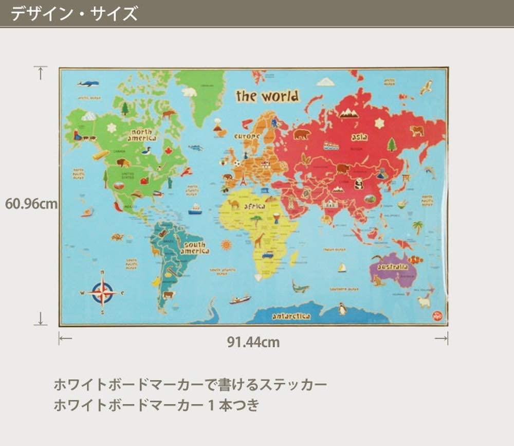 鮮やかな世界地図 ウォールステッカー サイズ