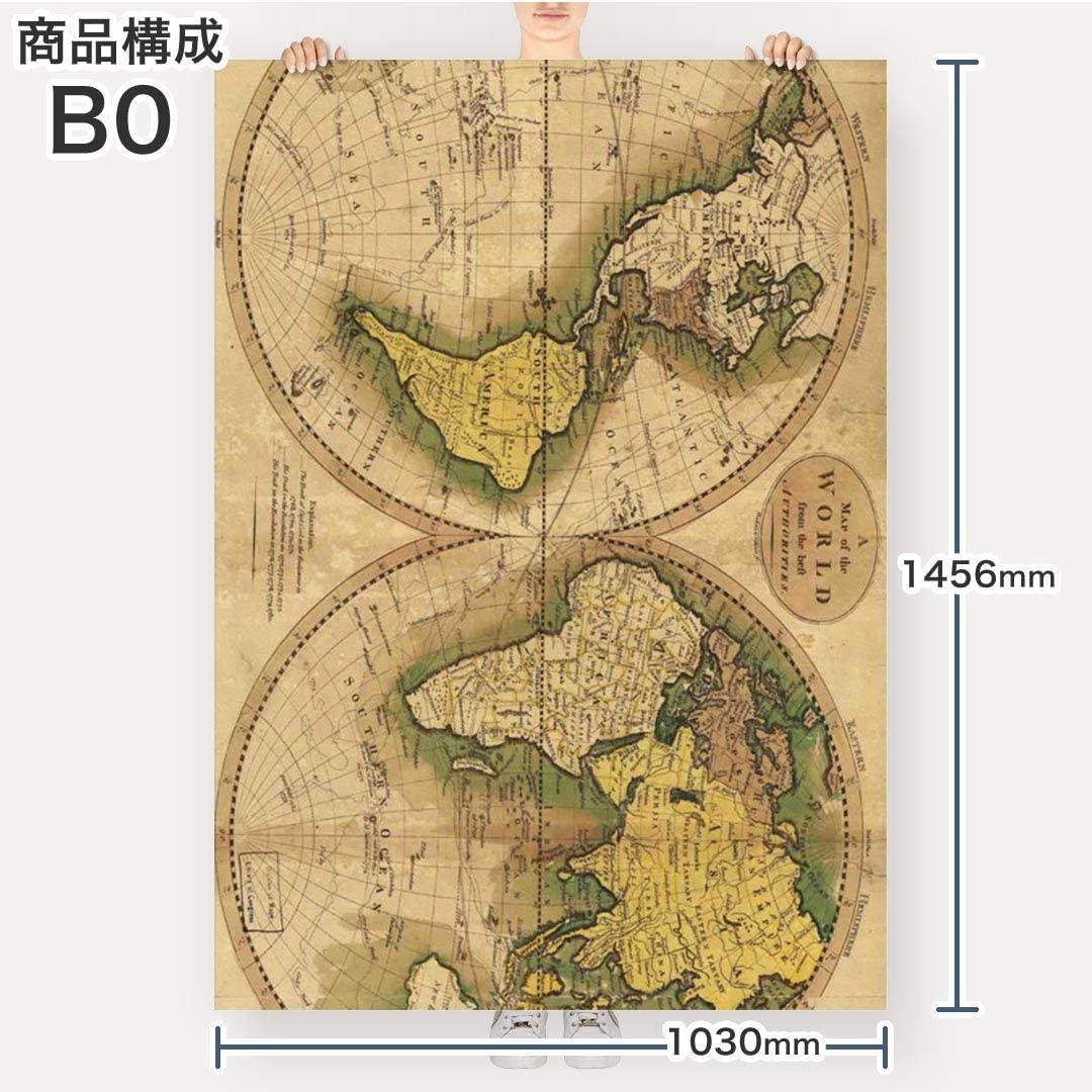 世界地図 古地図 ウォールステッカー サイズ