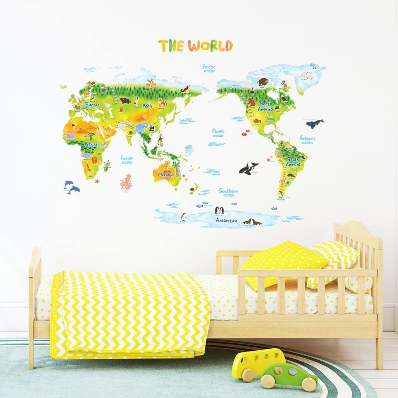 世界地図 ウォール ステッカー 動物イラスト イメージ