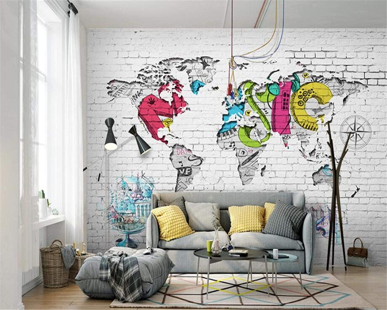 白いレンガの壁の北欧風世界地図 壁紙 イメージ