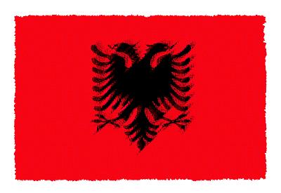 アルバニア共和国の国旗イラスト 由来・意味を解説