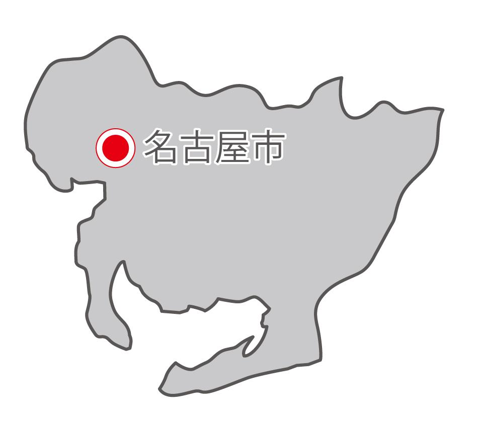 愛知県無料フリーイラスト|日本語・県庁所在地あり(グレー)