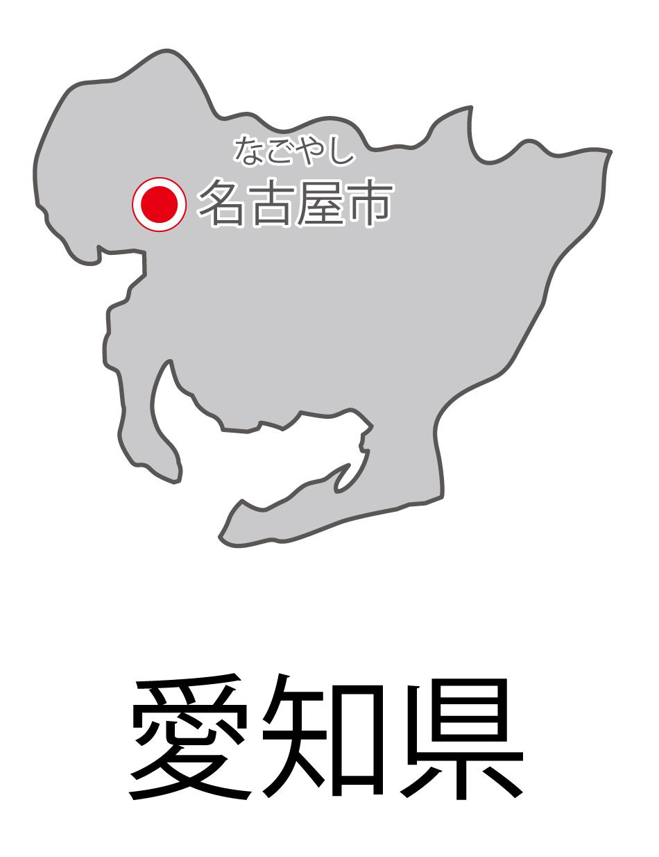 愛知県無料フリーイラスト|日本語・都道府県名あり・県庁所在地あり・ルビあり(グレー)