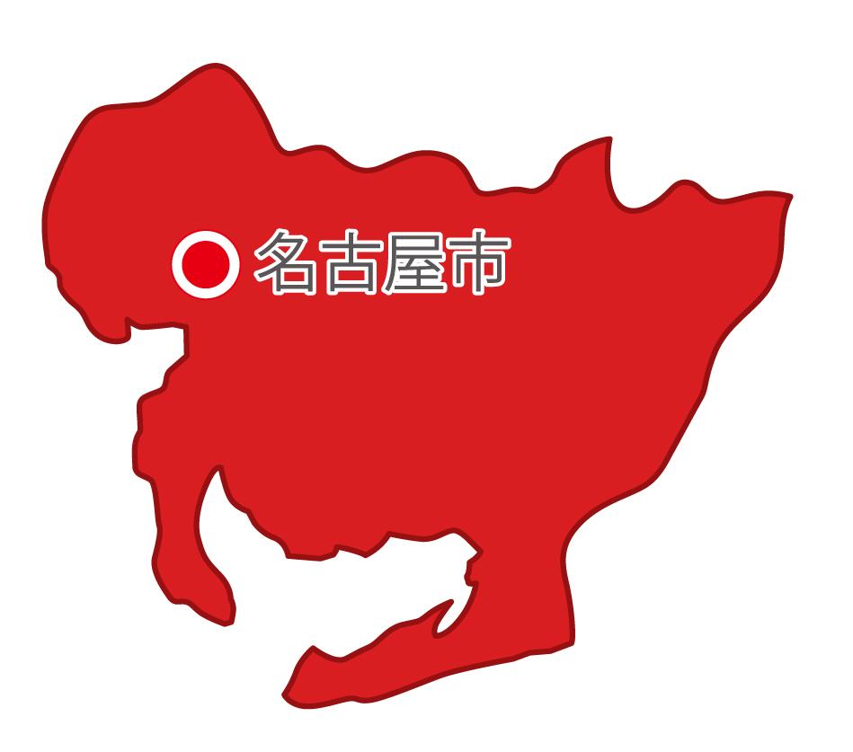 愛知県無料フリーイラスト|日本語・県庁所在地あり(赤)