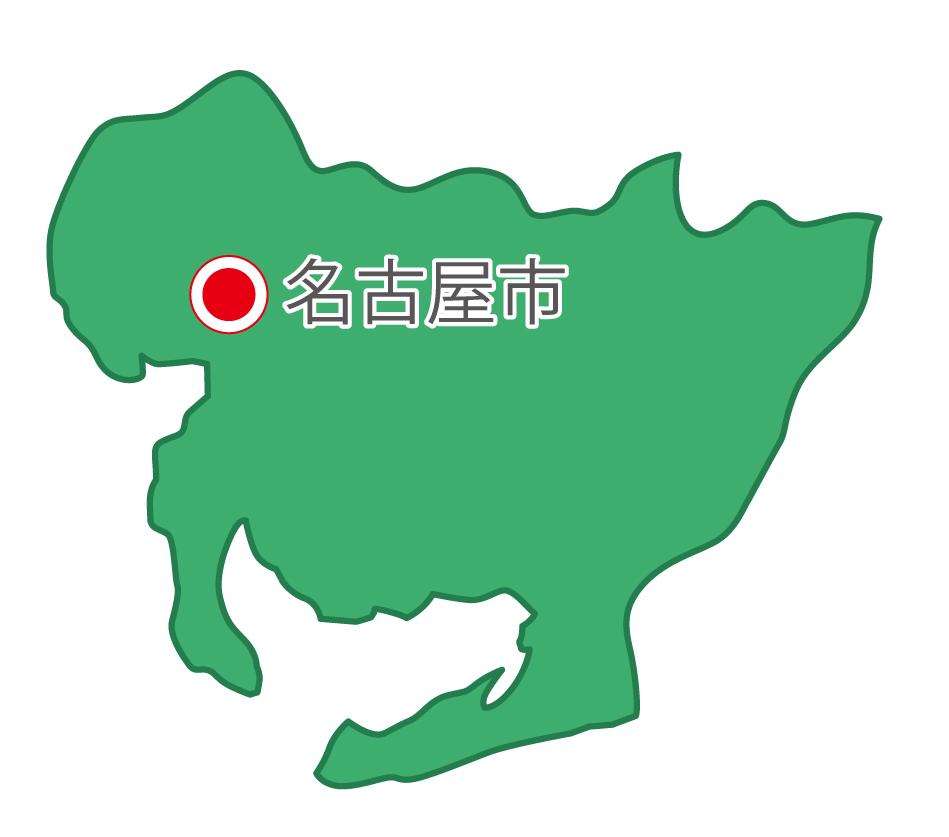 愛知県無料フリーイラスト|日本語・県庁所在地あり(緑)