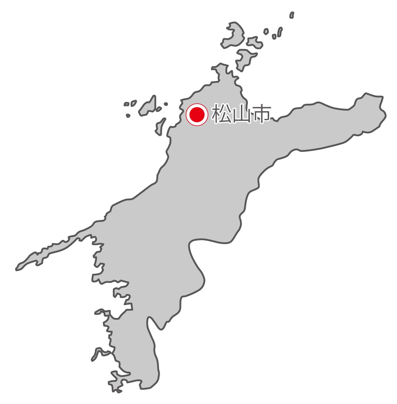 愛媛県無料フリーイラスト|日本語・県庁所在地あり(グレー)