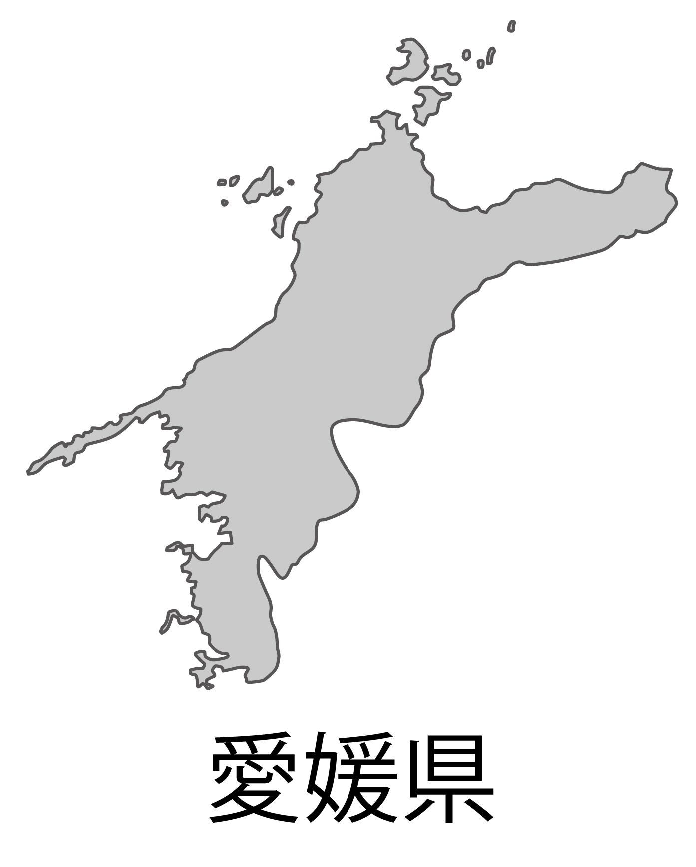 愛媛県無料フリーイラスト|日本語・都道府県名あり(グレー)