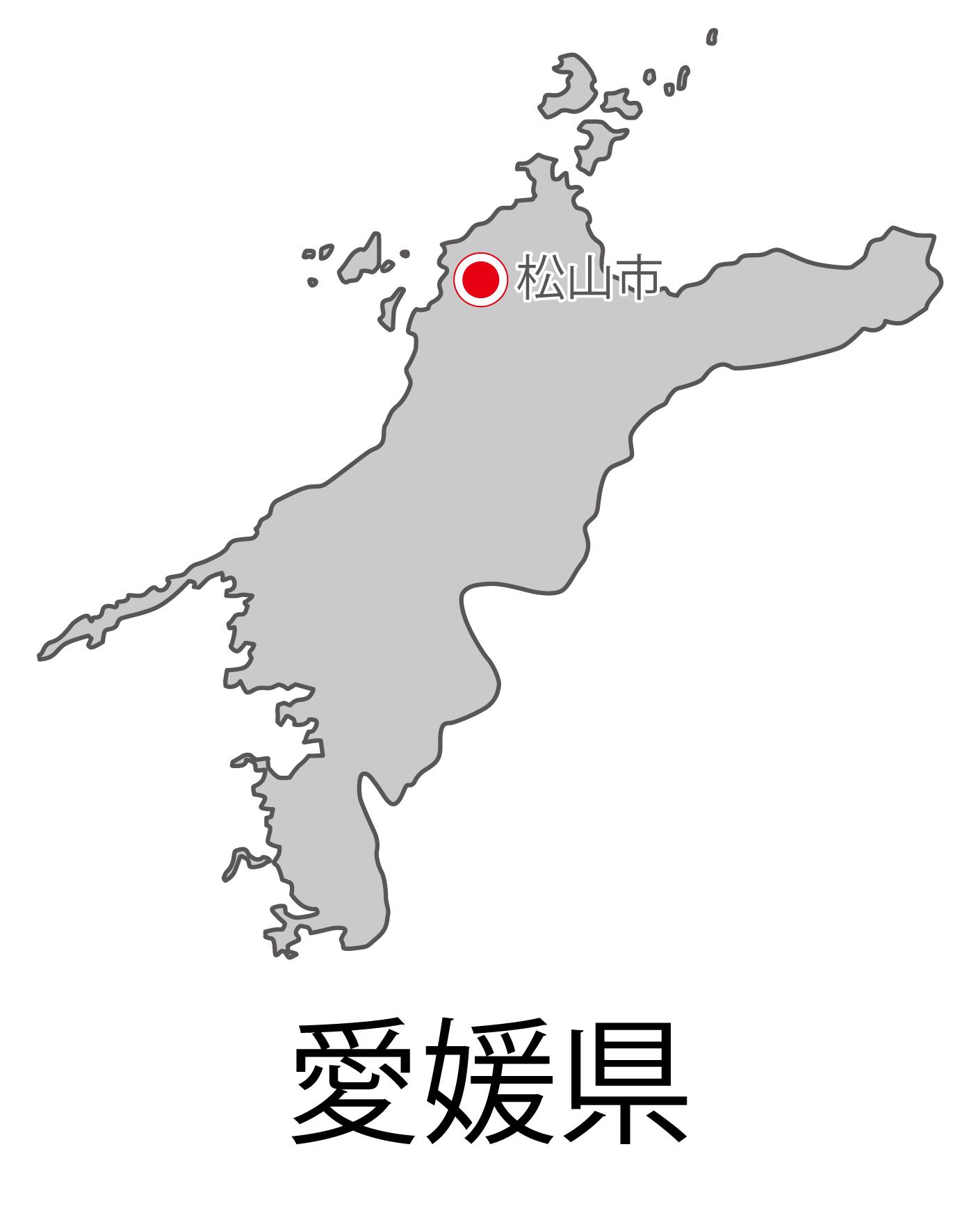 愛媛県無料フリーイラスト|日本語・都道府県名あり・県庁所在地あり(グレー)