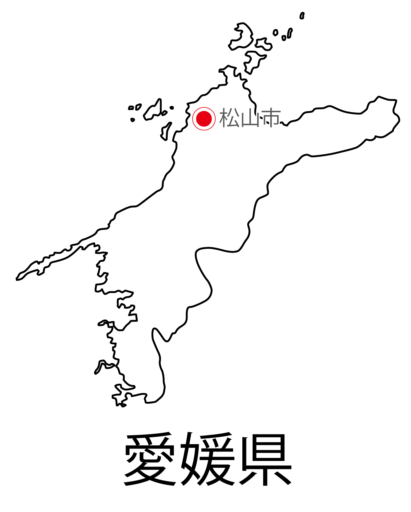 愛媛県無料フリーイラスト|日本語・都道府県名あり・県庁所在地あり(白)