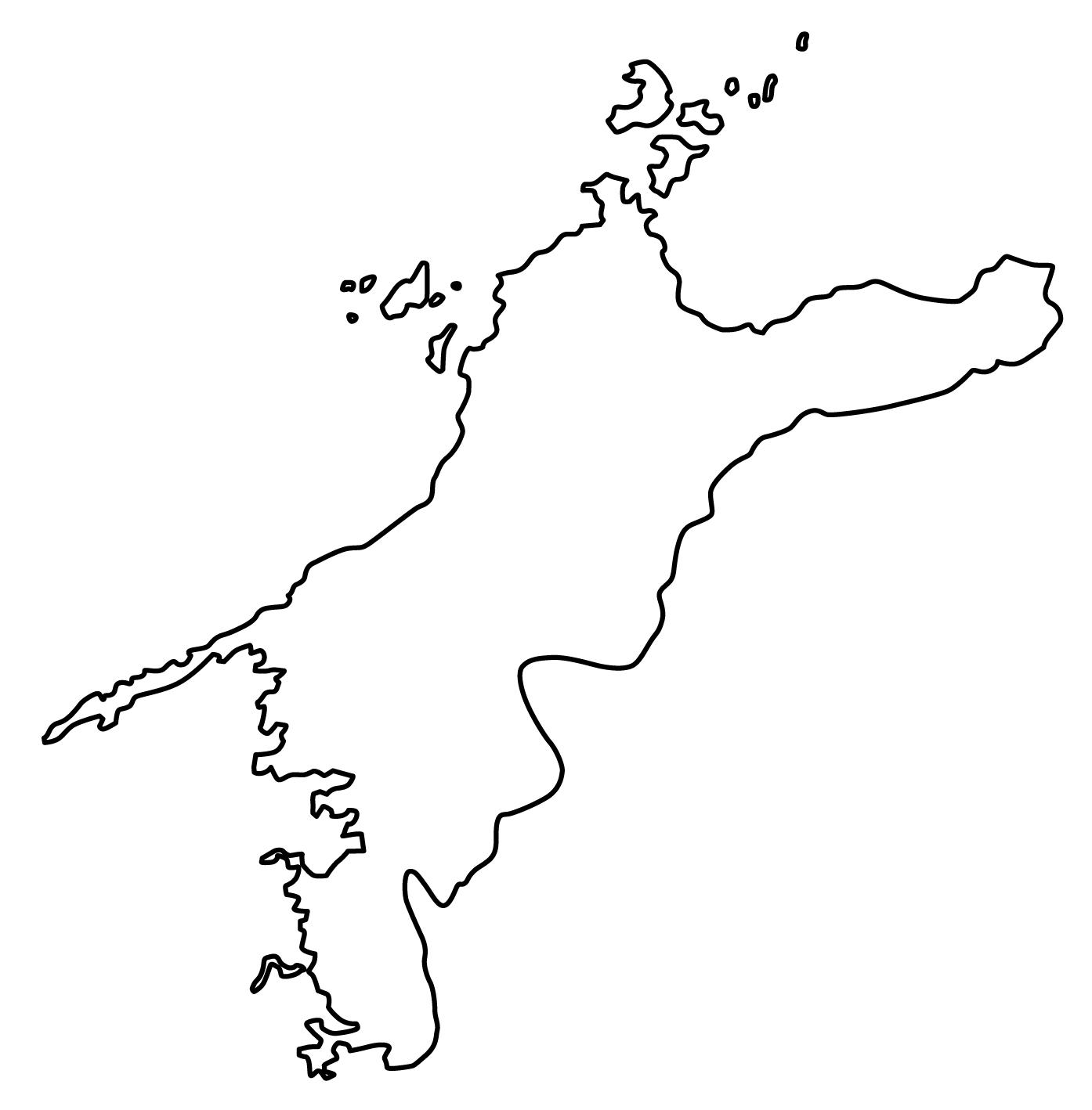 愛媛県無料フリーイラスト|文字なし(白)